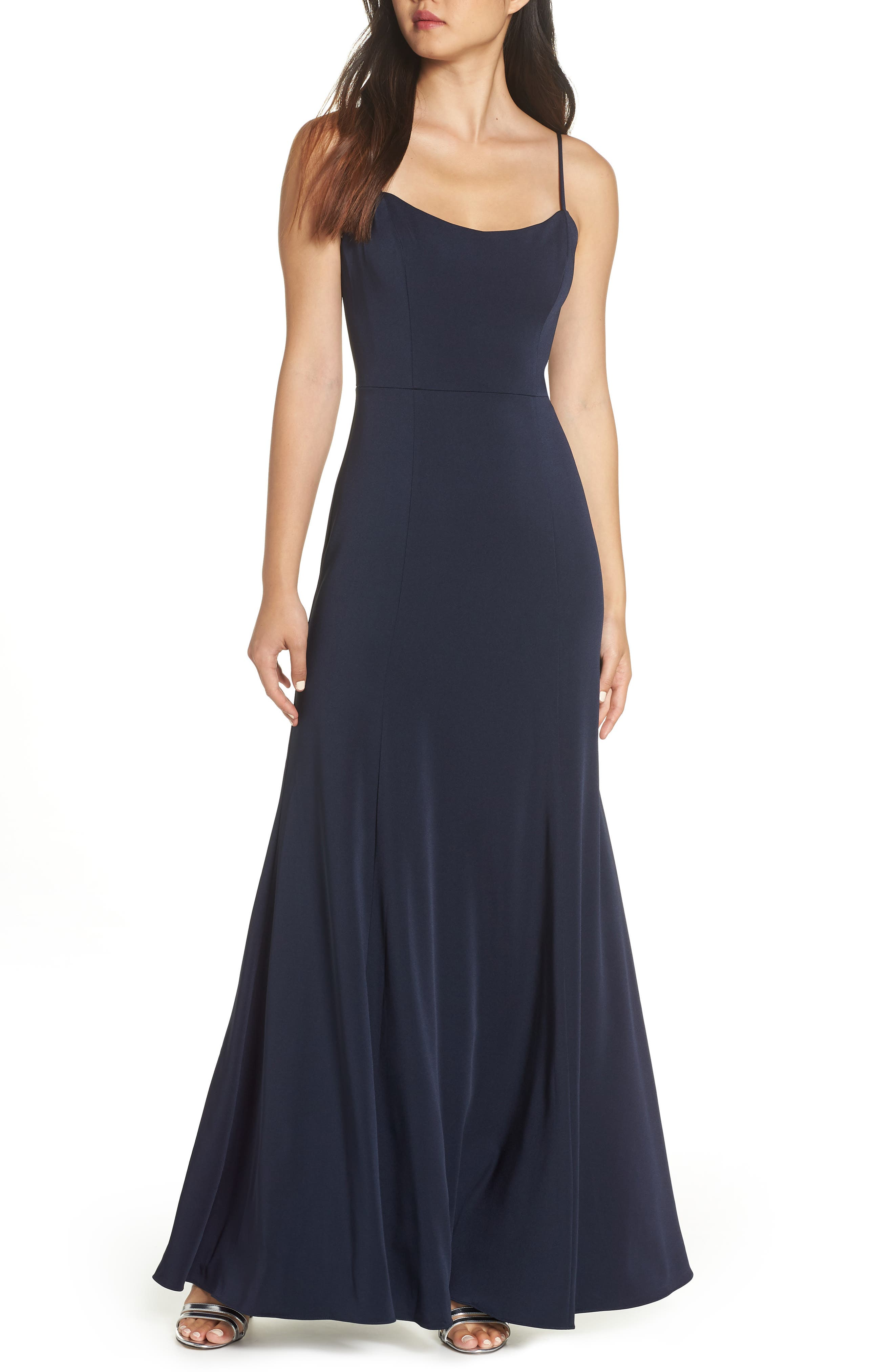 Aniston Luxe Crepe Trumpet Gown,                             Main thumbnail 1, color,                             MIDNIGHT