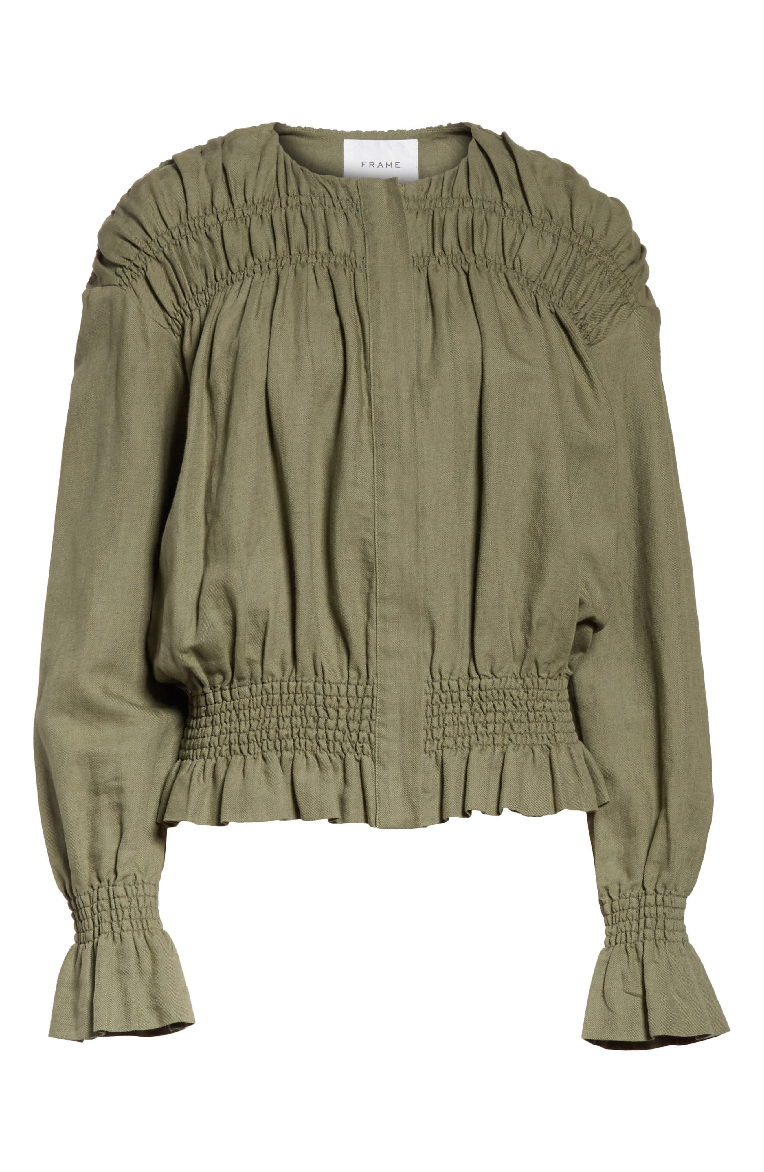 Smocked Jacket,                             Alternate thumbnail 6, color,                             FADED ARMY