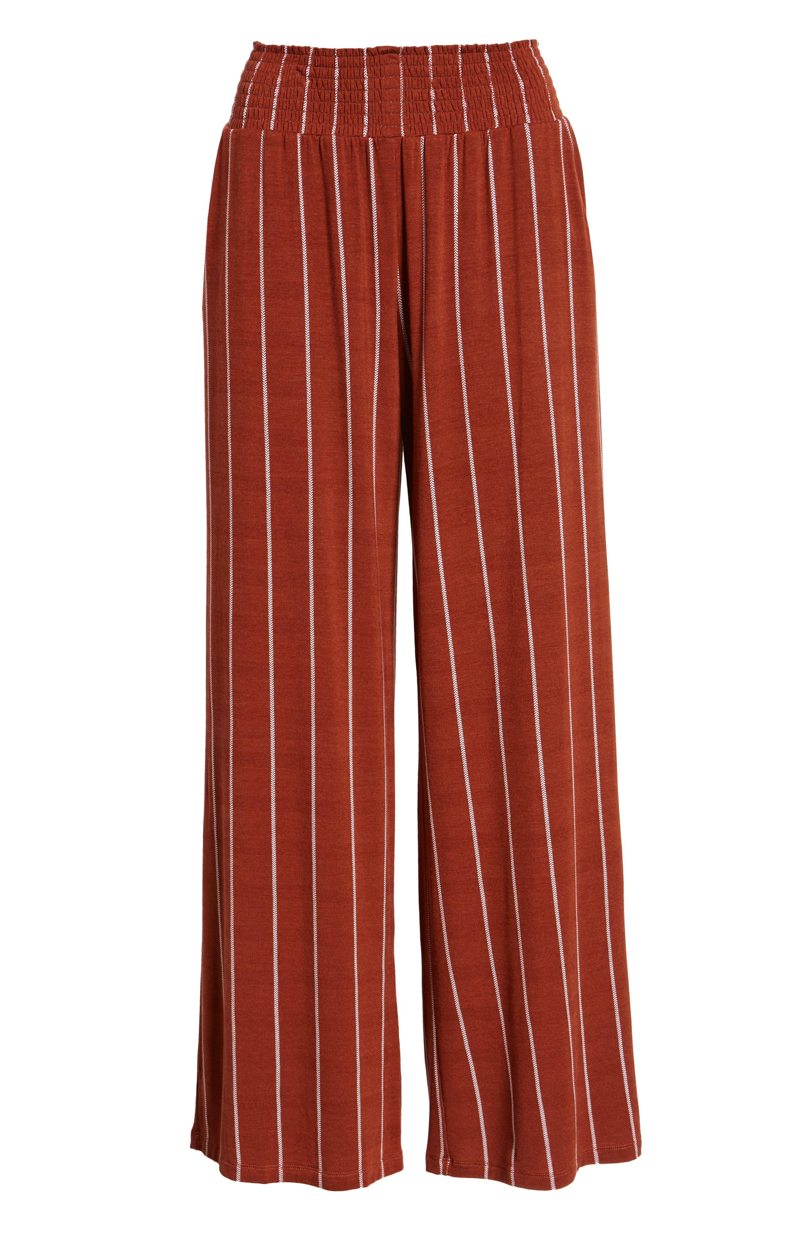 Stripe Knit Wide Leg Pants,                             Alternate thumbnail 7, color,                             SEQUOIA