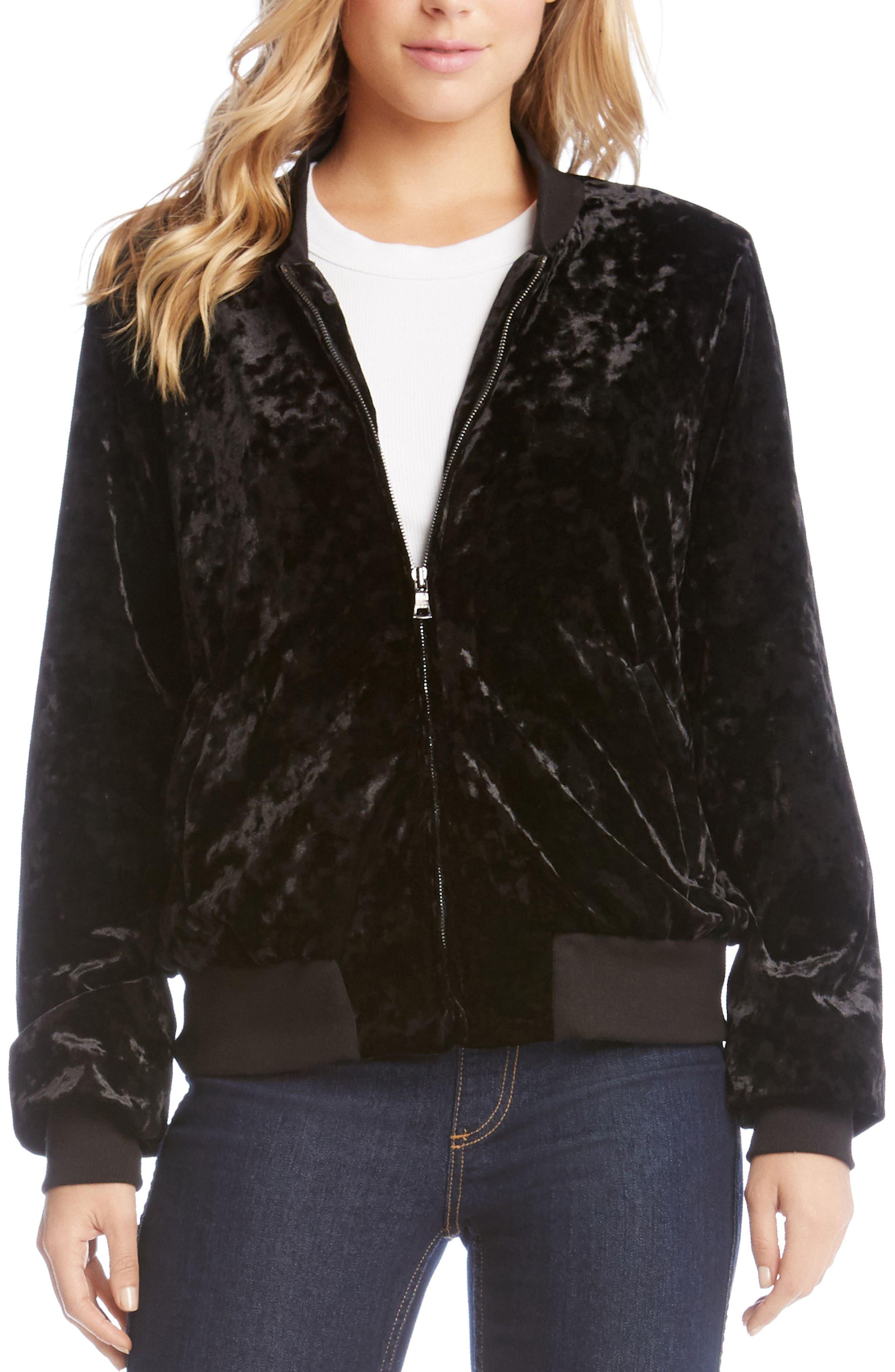 Velvet Bomber Jacket,                         Main,                         color, 001