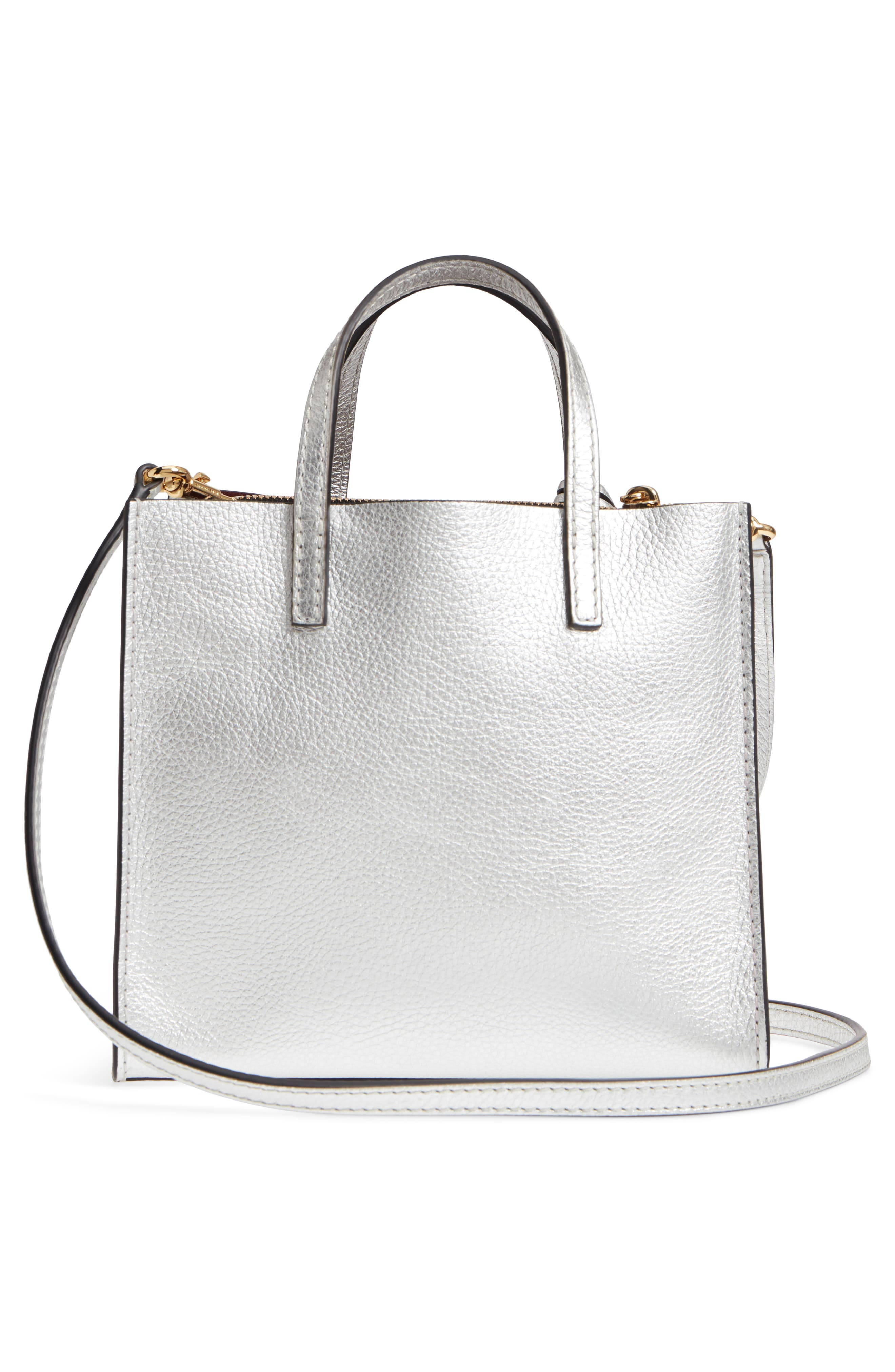 Mini The Grind Metallic Leather Tote,                             Alternate thumbnail 3, color,                             SILVER