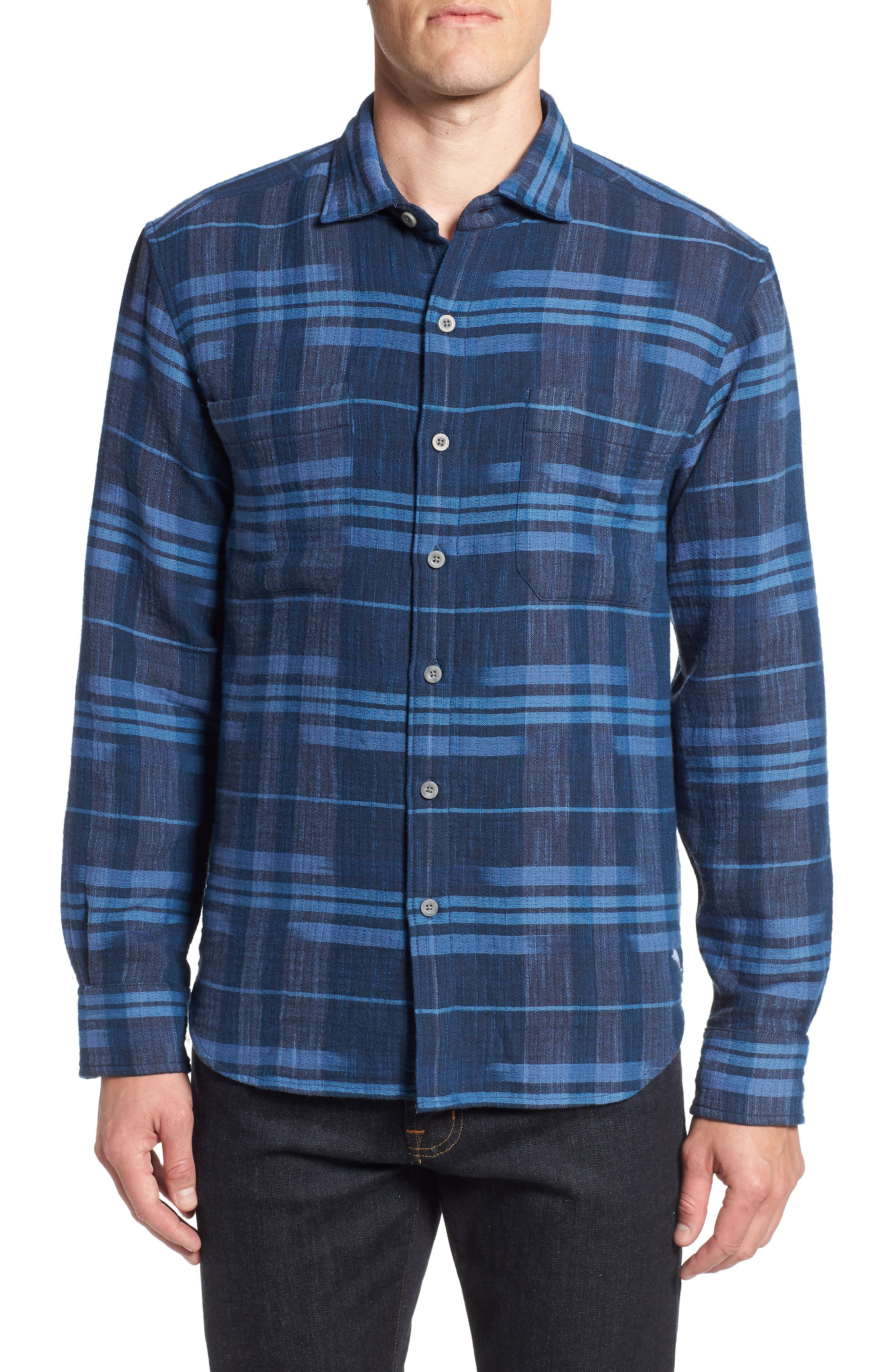 Amparo Plaid Sport Shirt,                         Main,                         color, BLUE JEAN