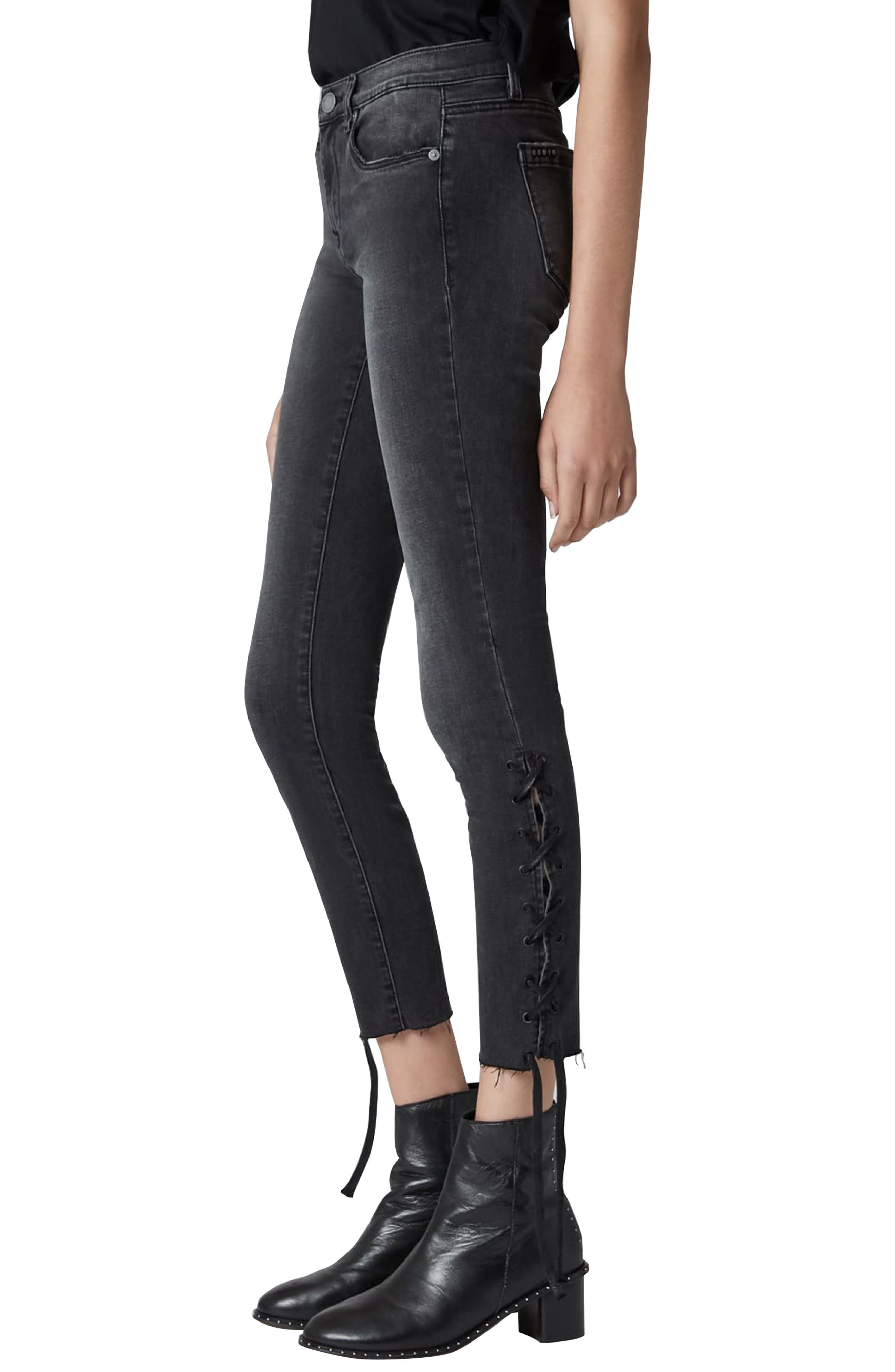 The Reade Lace Up Hem Crop Skinny Jeans,                             Alternate thumbnail 3, color,                             ANTIDOTE