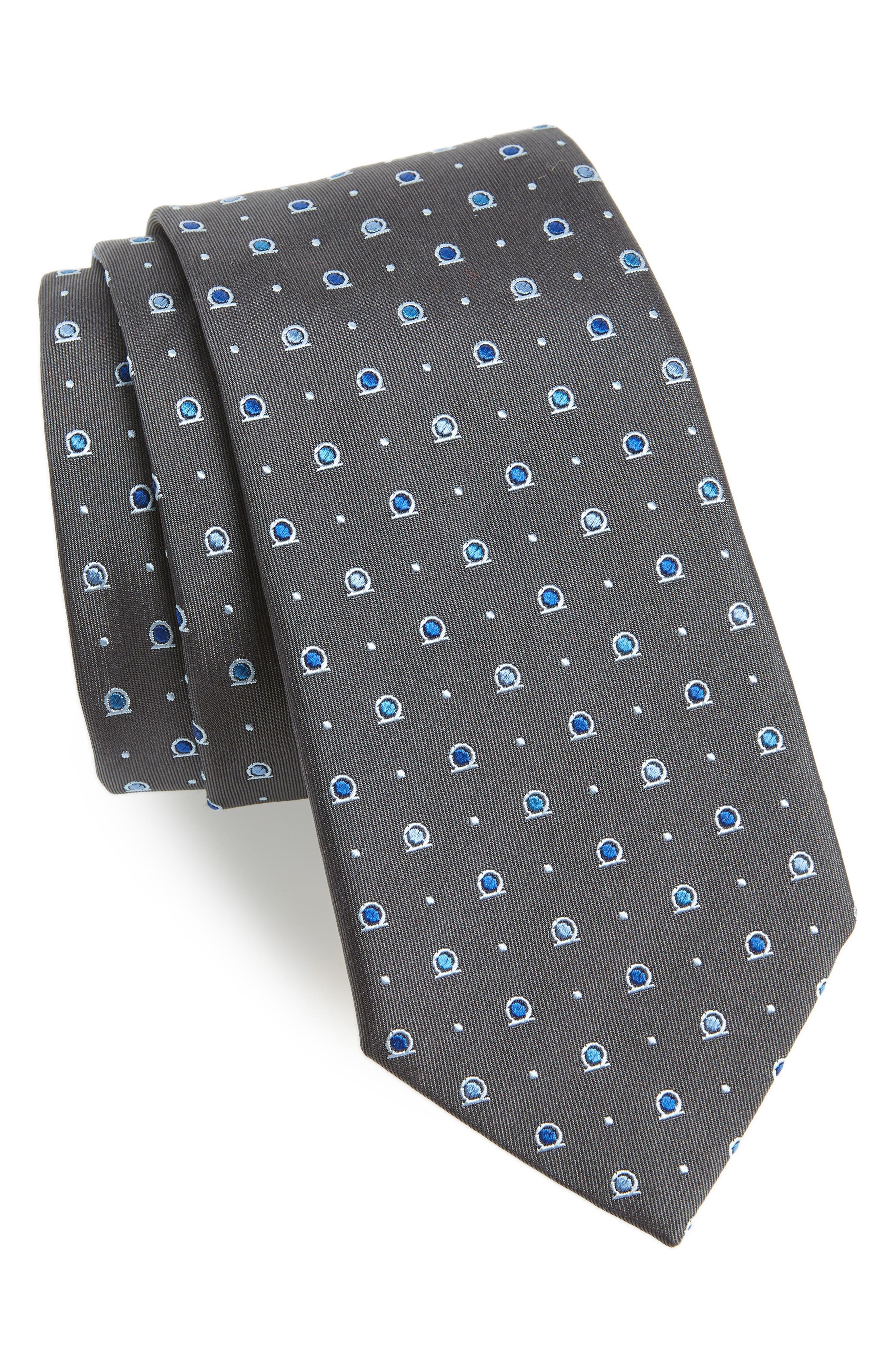 Foggia Print Silk Tie,                         Main,                         color, GREY
