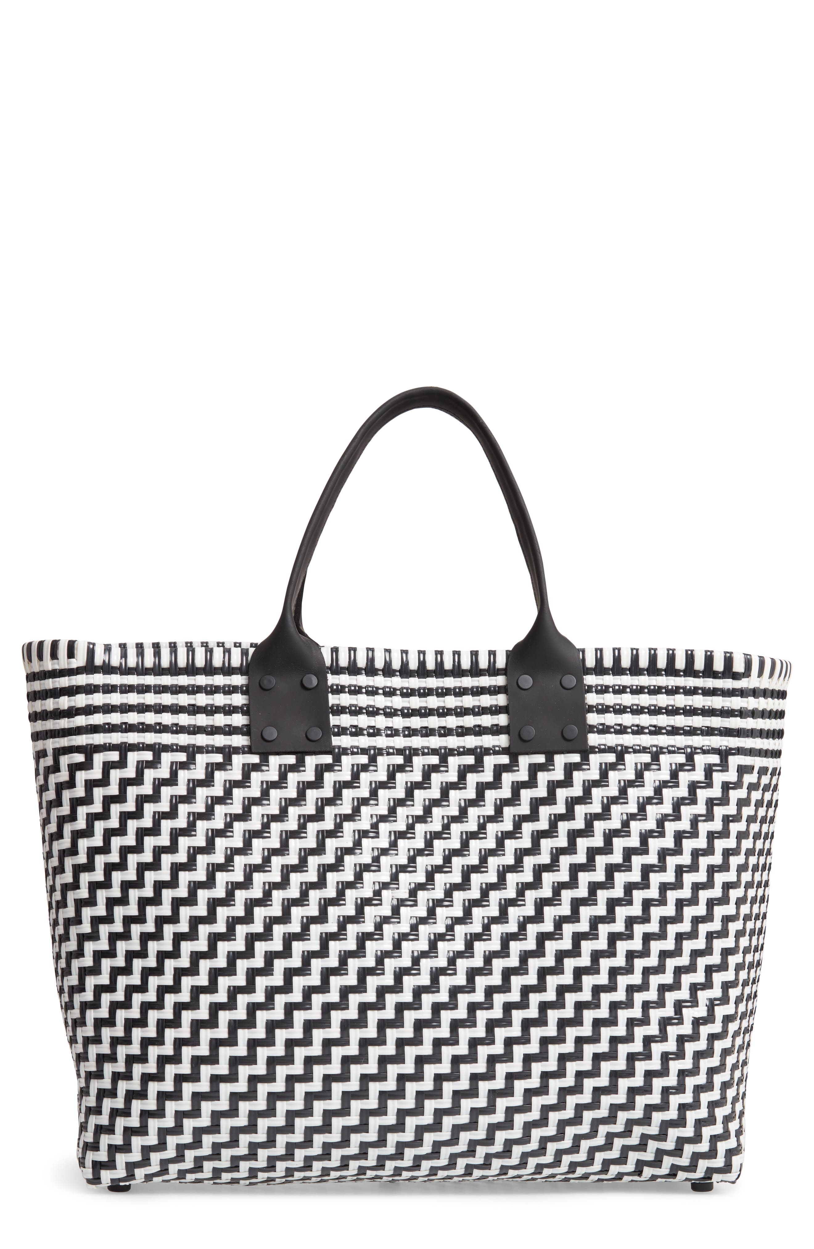 Large Woven Tote,                         Main,                         color, BLACK/ WHITE