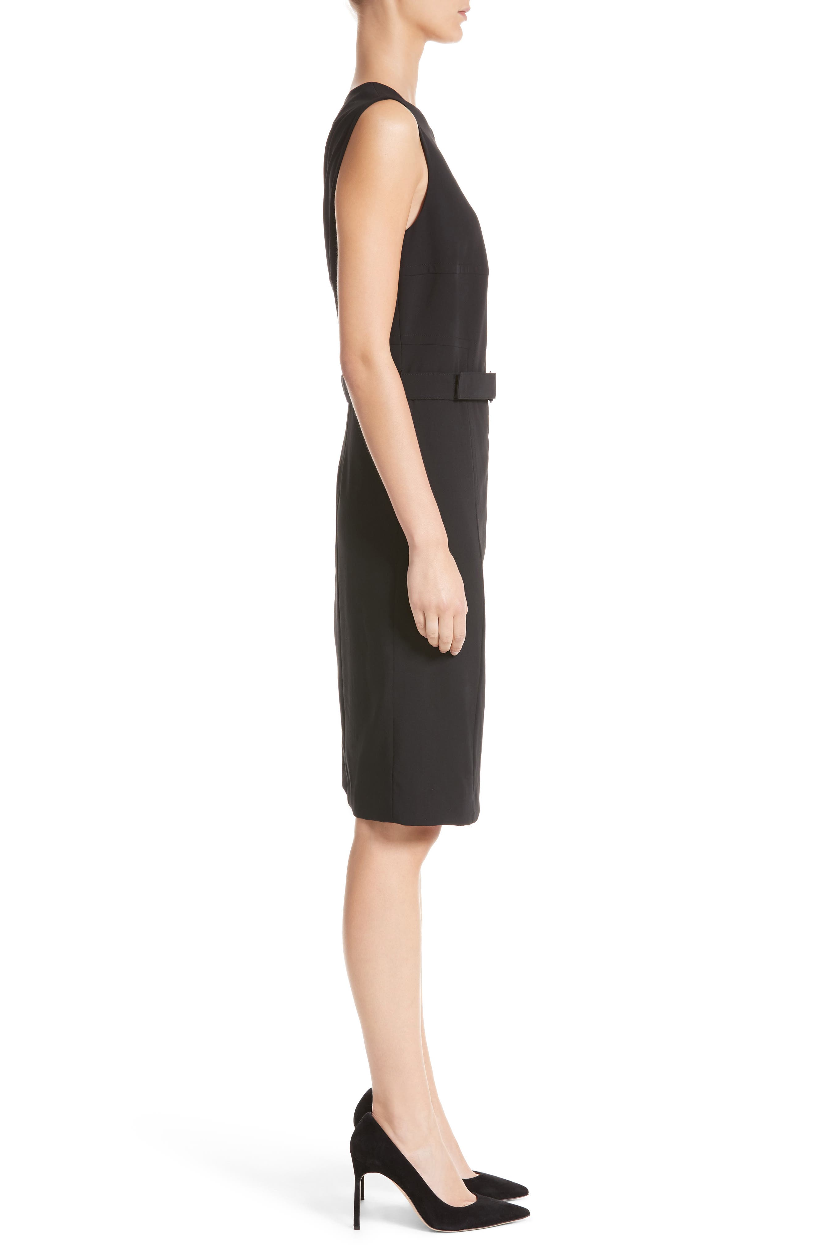 Belted Zip Front Wool Dress,                             Alternate thumbnail 3, color,                             001