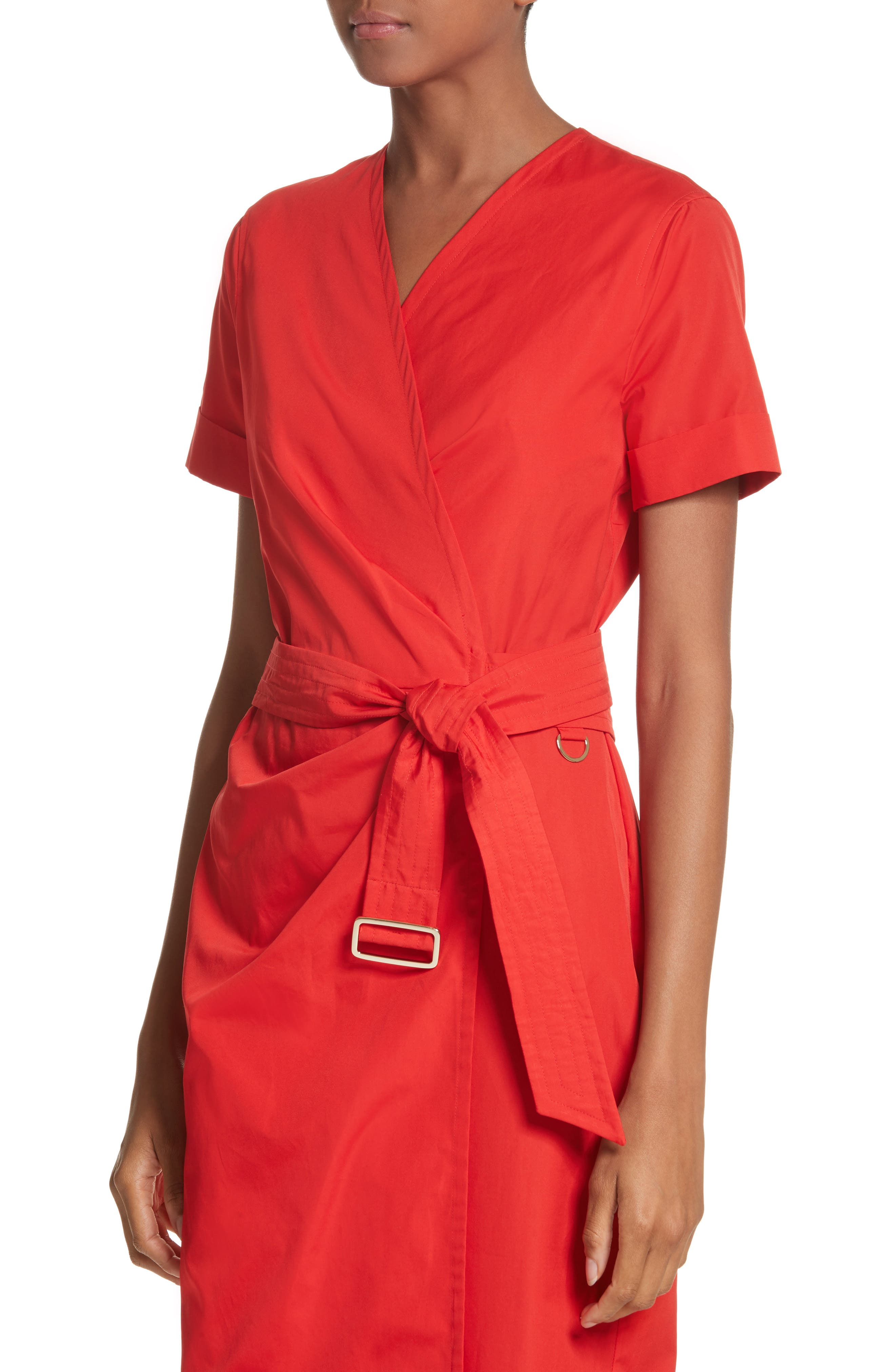 Dalmine Cotton Wrap Dress,                             Alternate thumbnail 4, color,                             RED