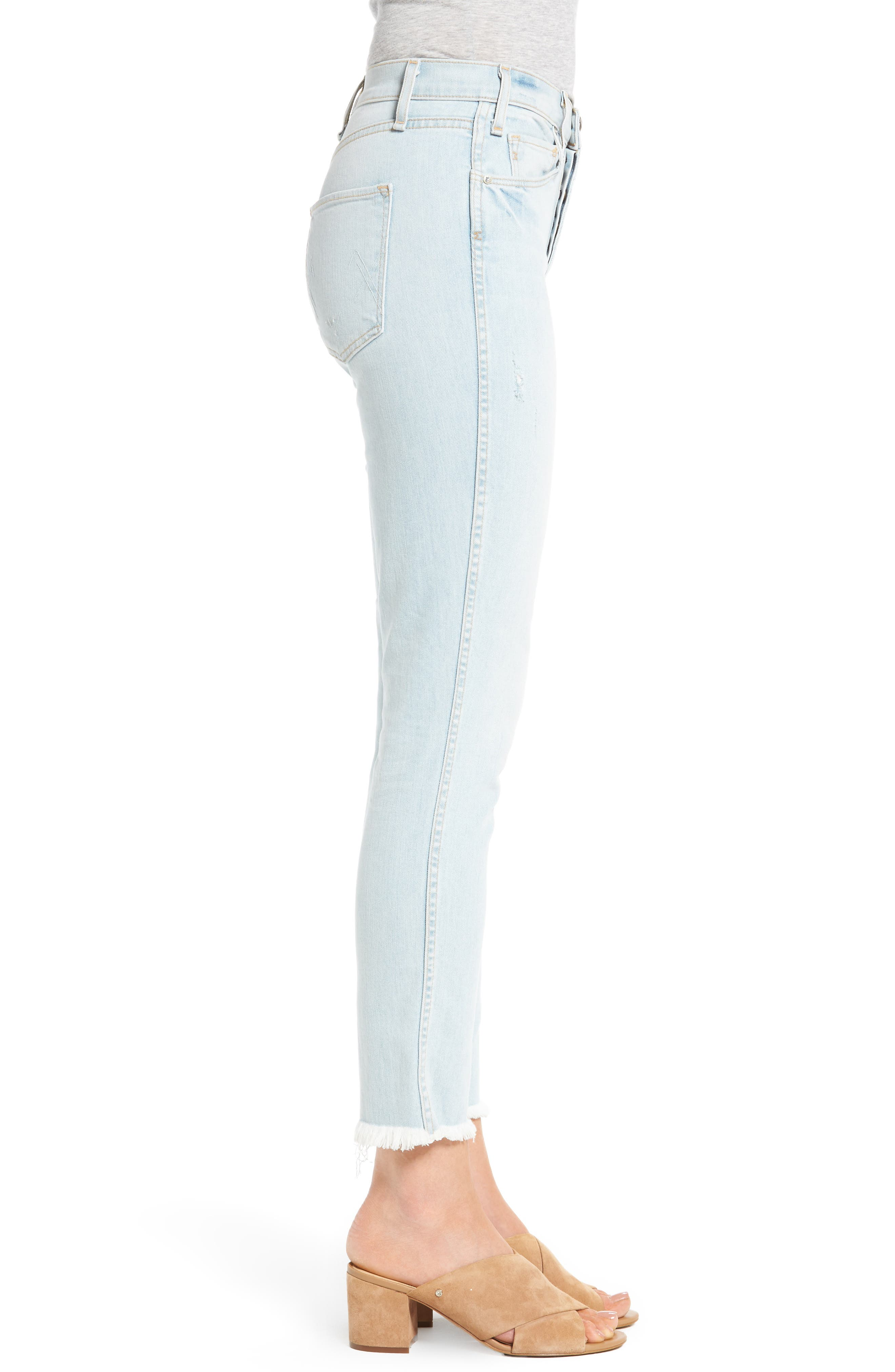 High Waist Crop Slim Jeans,                             Alternate thumbnail 3, color,                             453