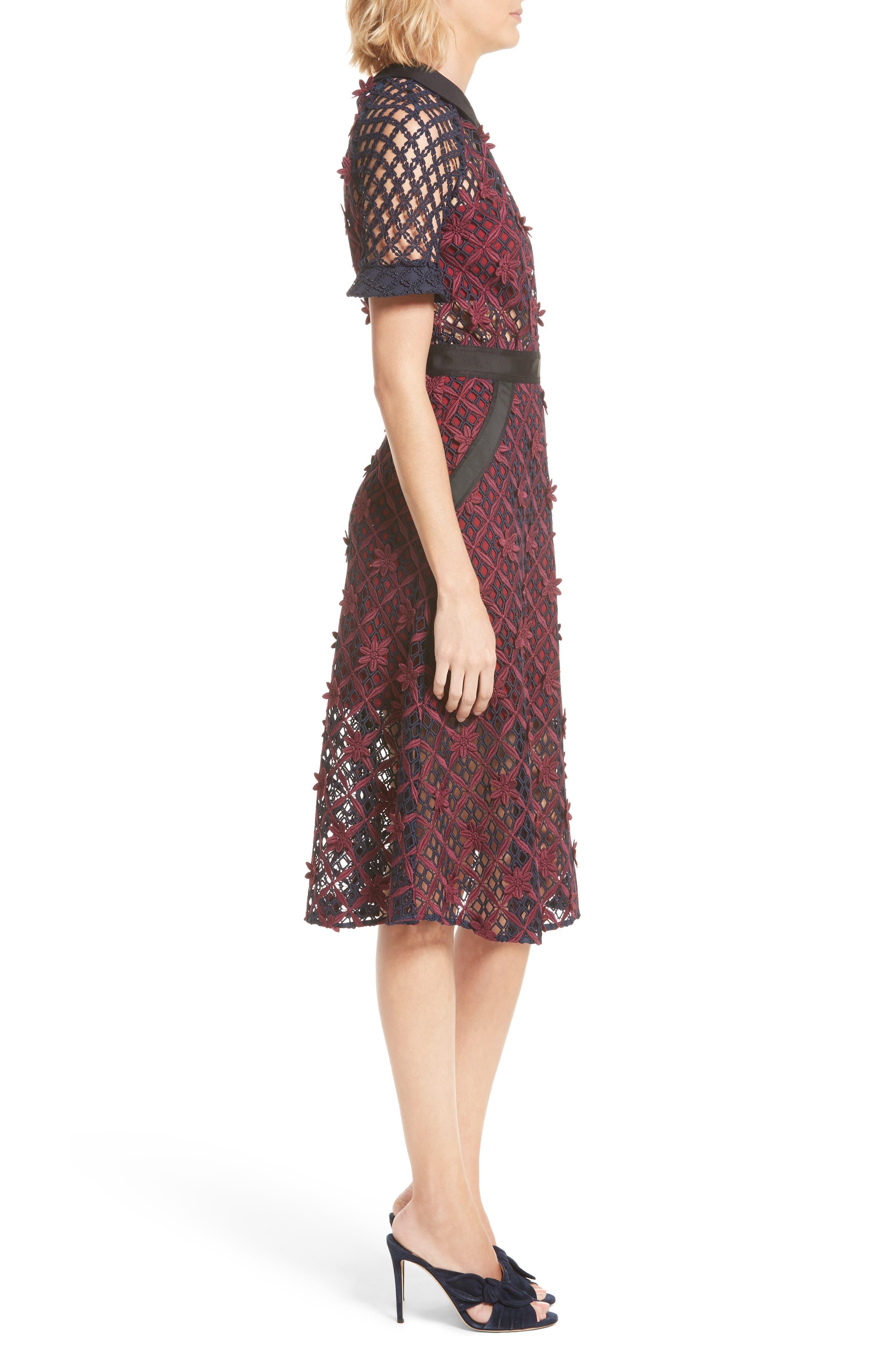 Floral Grid Midi Dress,                             Alternate thumbnail 3, color,                             640