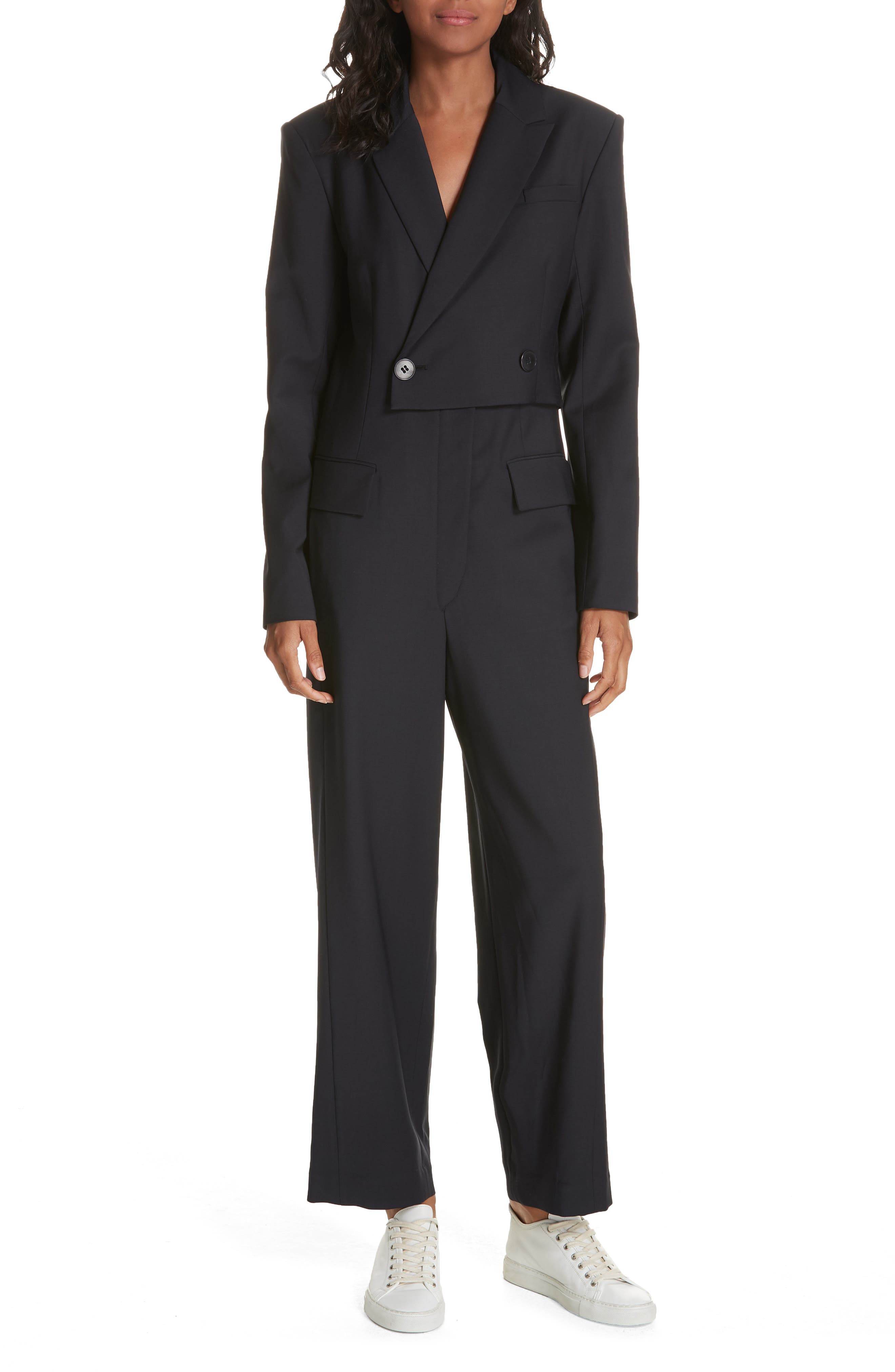 TIBI,                             Plain Weave Blazer Jumpsuit,                             Main thumbnail 1, color,                             DARK NAVY