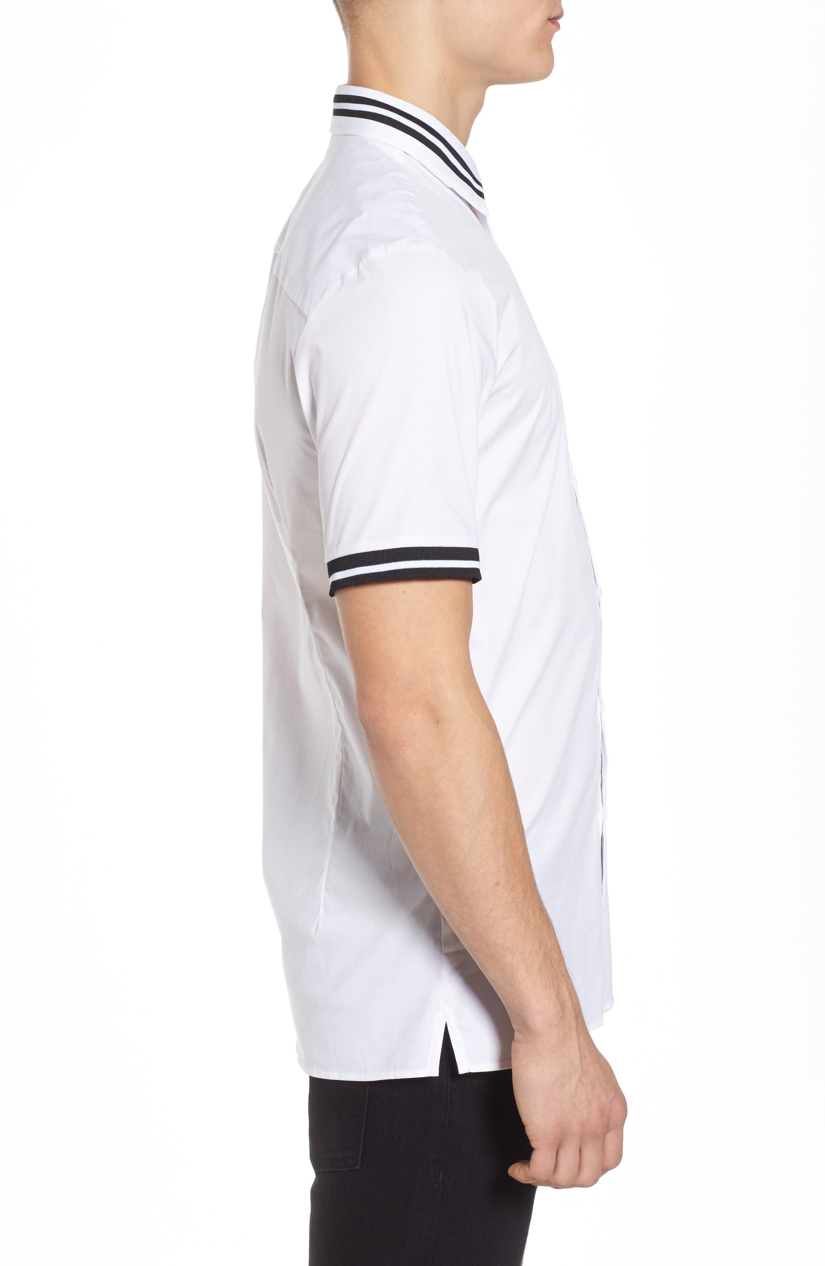 Muscle Fit Stripe Tipped Shirt,                             Alternate thumbnail 5, color,