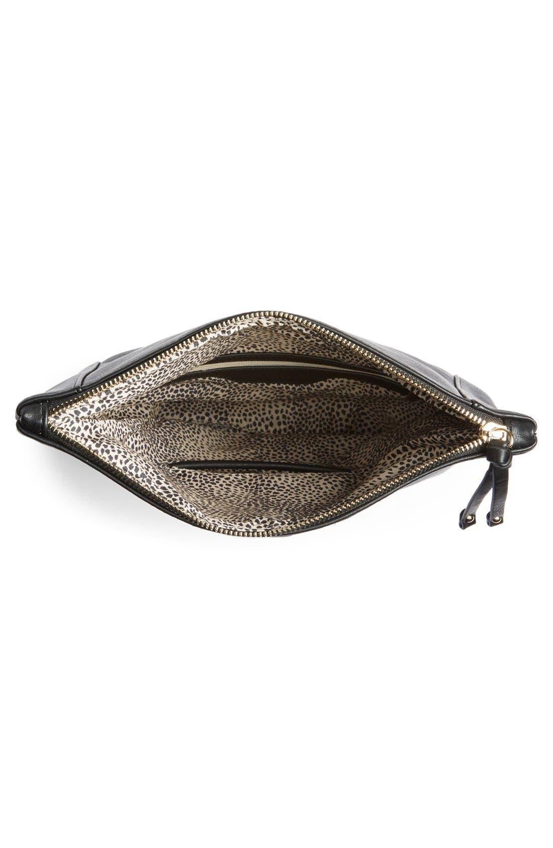 Marlena Faux Leather Foldover Clutch,                             Alternate thumbnail 4, color,                             JET BLACK