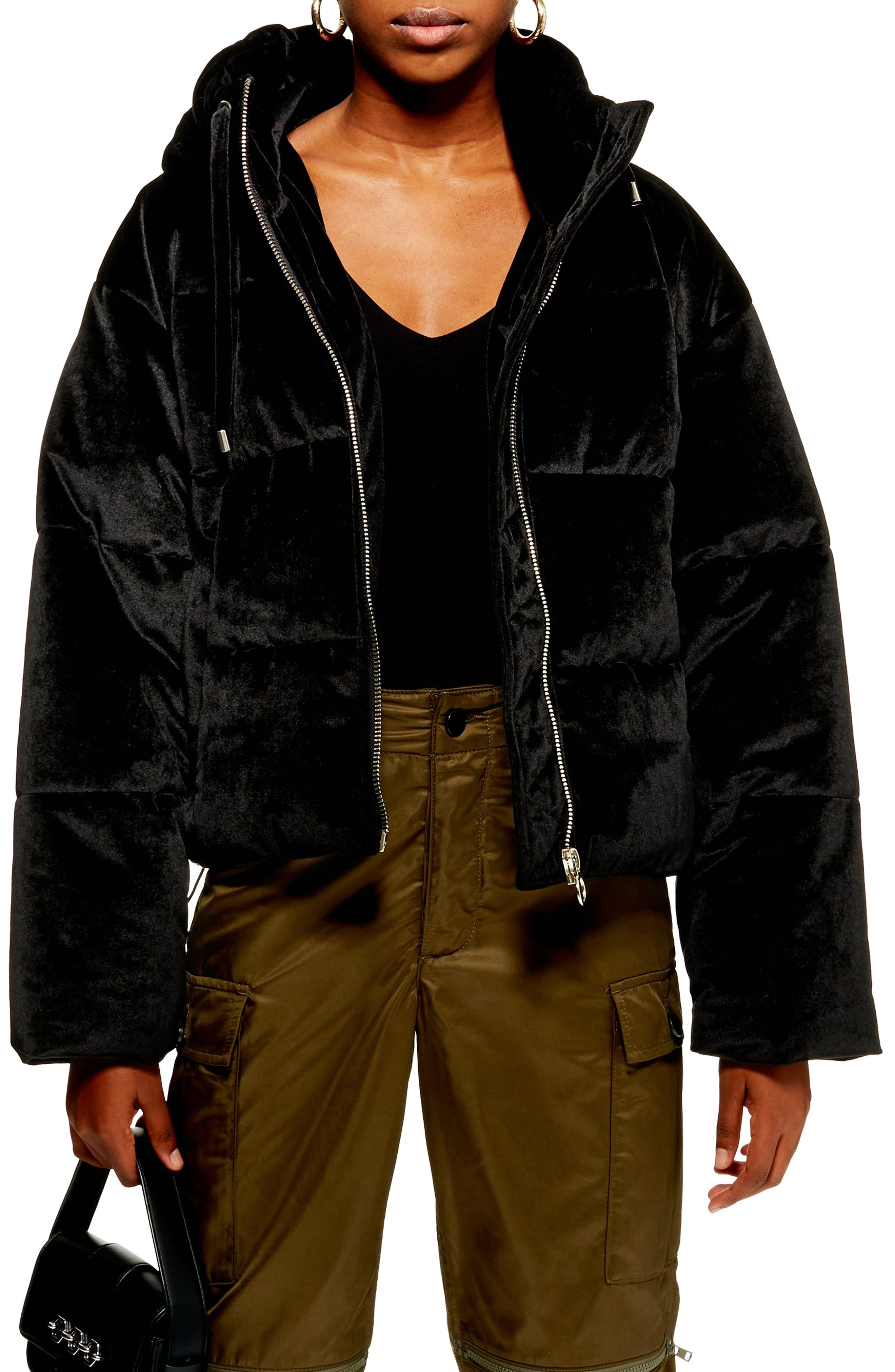 Velvet Puffer Jacket,                         Main,                         color, 001