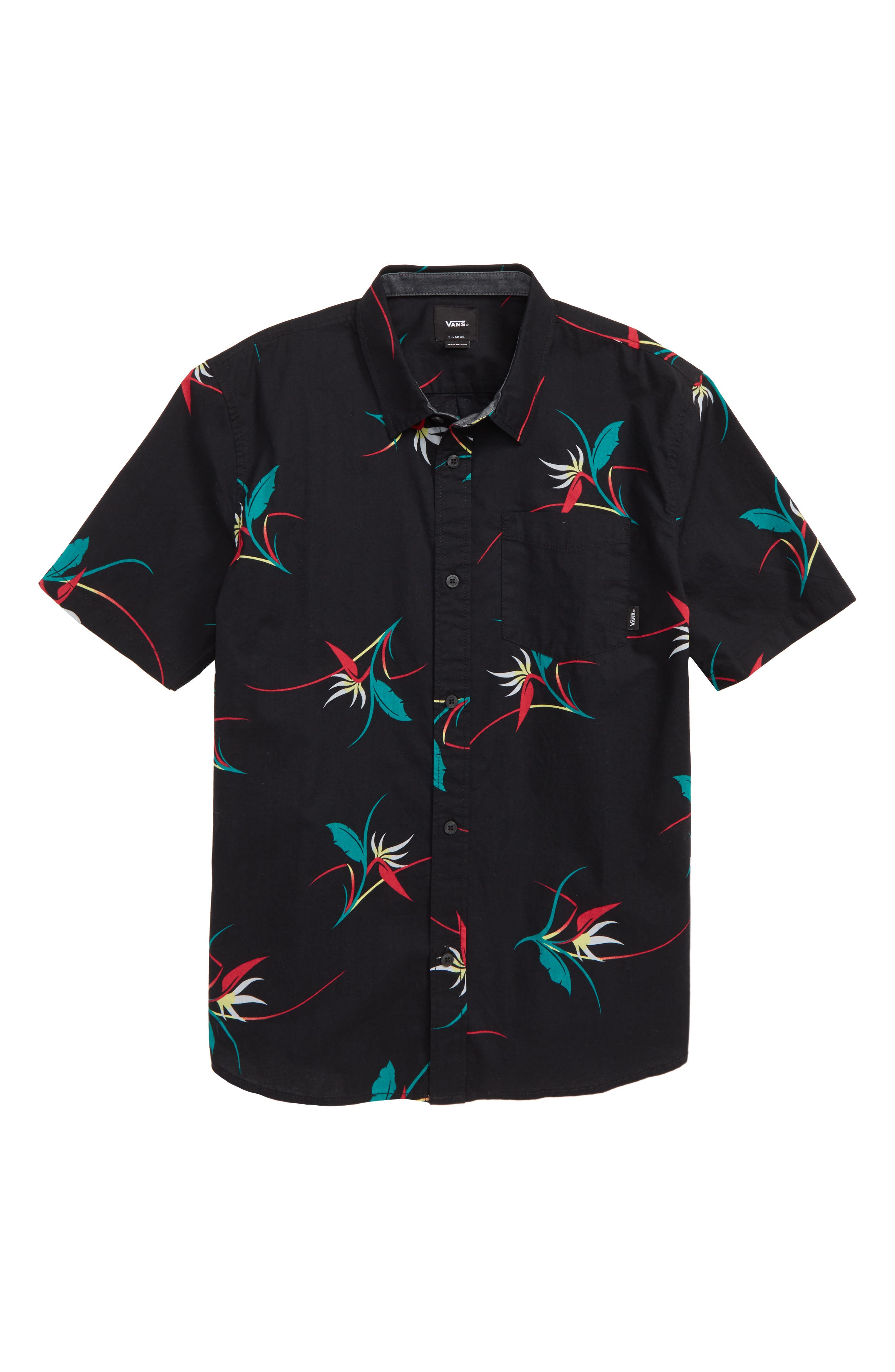 Shade Print Woven Shirt,                             Main thumbnail 1, color,                             BLACK