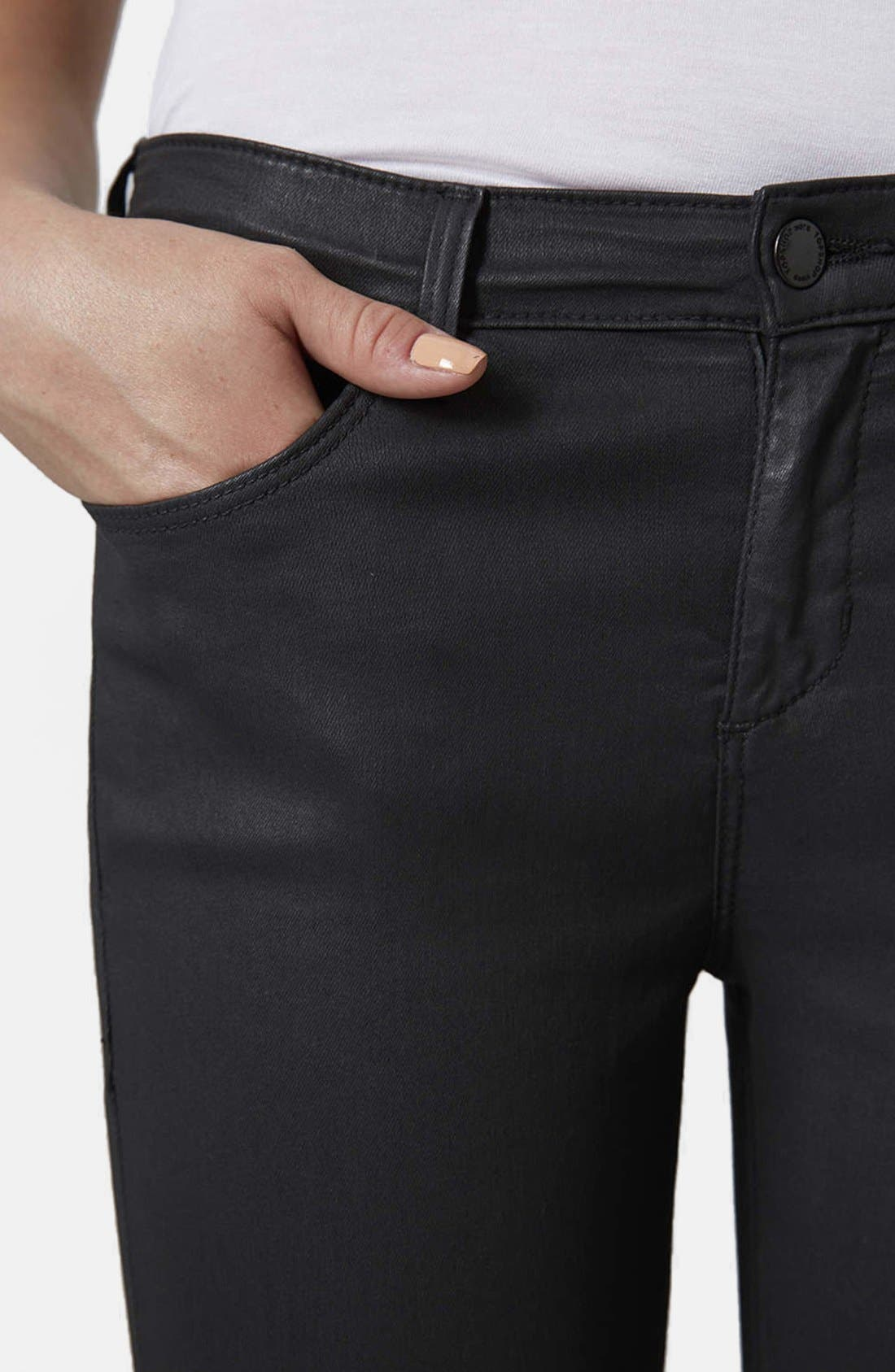 Moto 'Leigh' Coated Skinny Jeans,                             Alternate thumbnail 3, color,                             001