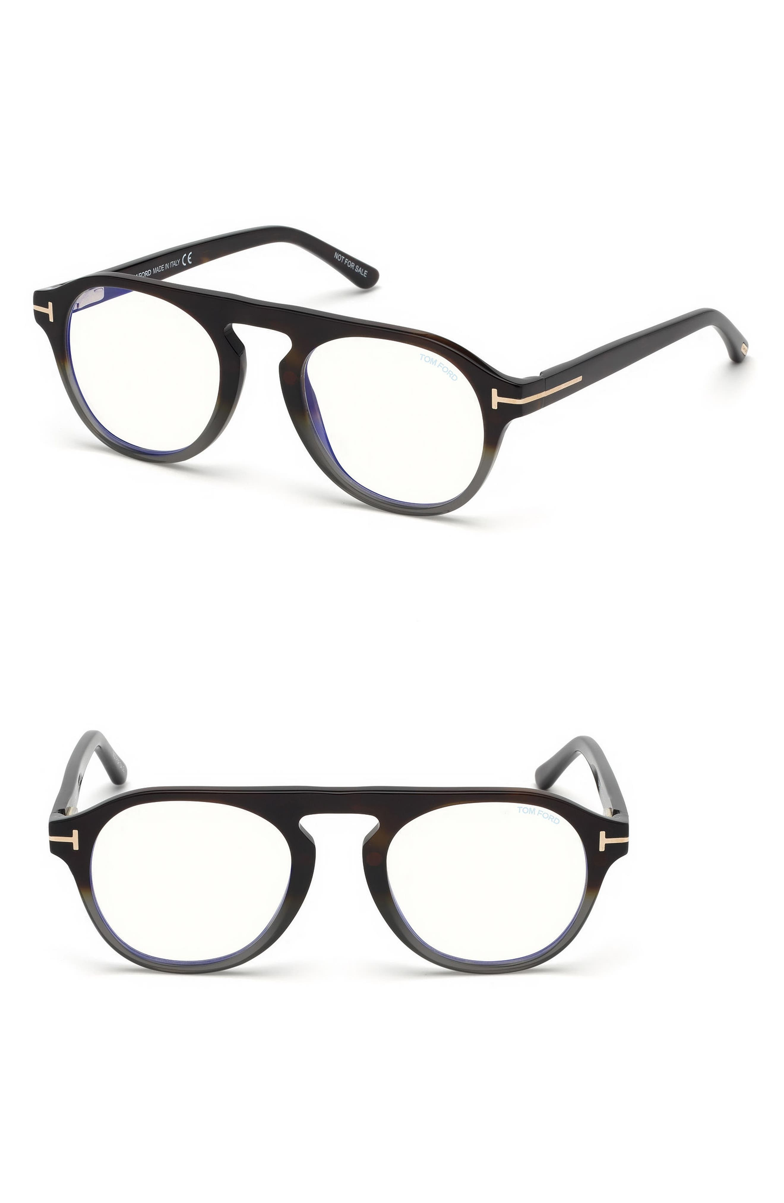 TOM FORD 49mm Blue Light Blocking Glasses with Clip-On Lens, Main, color, GREY HAVANA