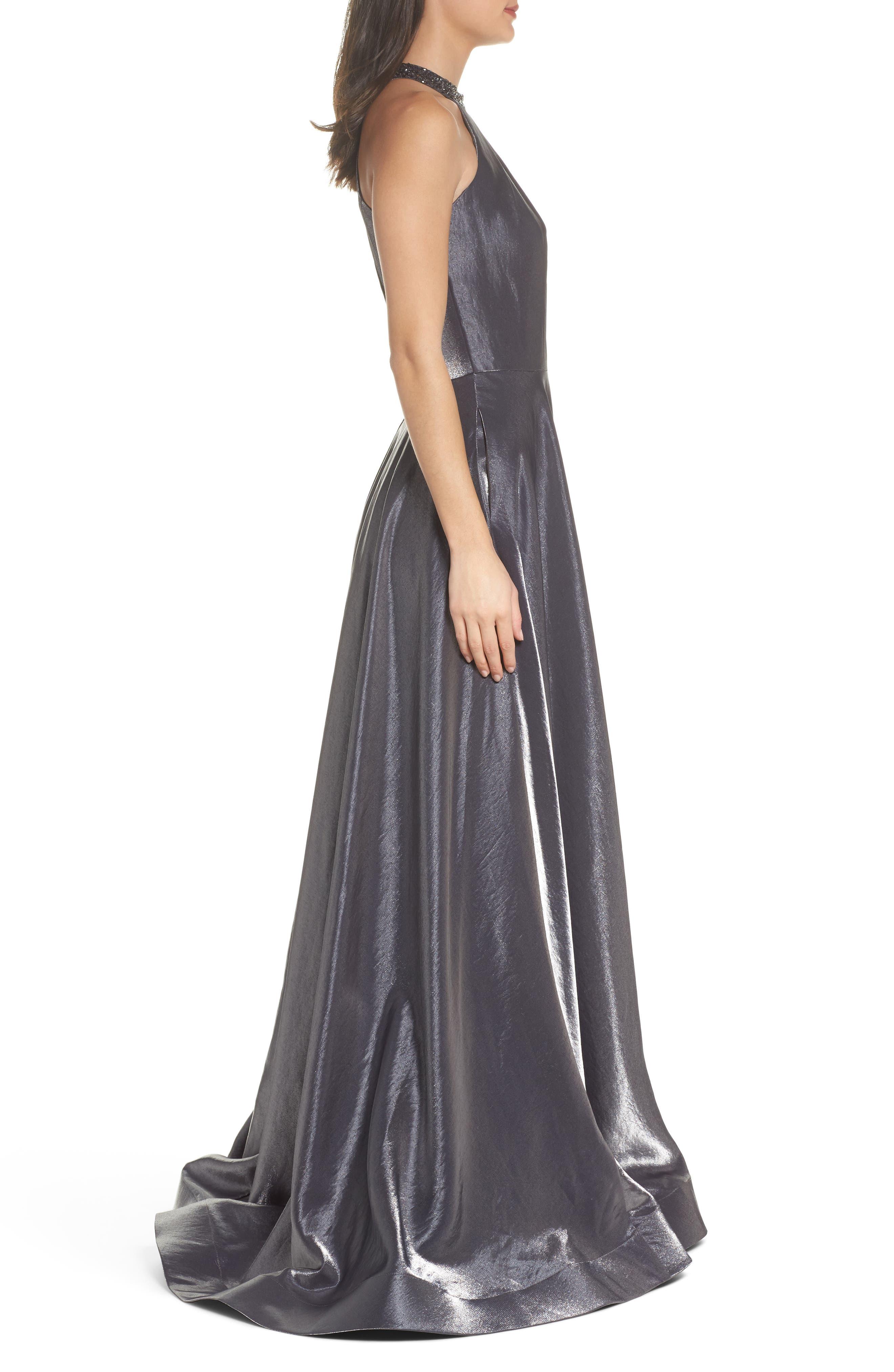Beaded Halter Neck A-Line Gown,                             Alternate thumbnail 3, color,                             PLATINUM
