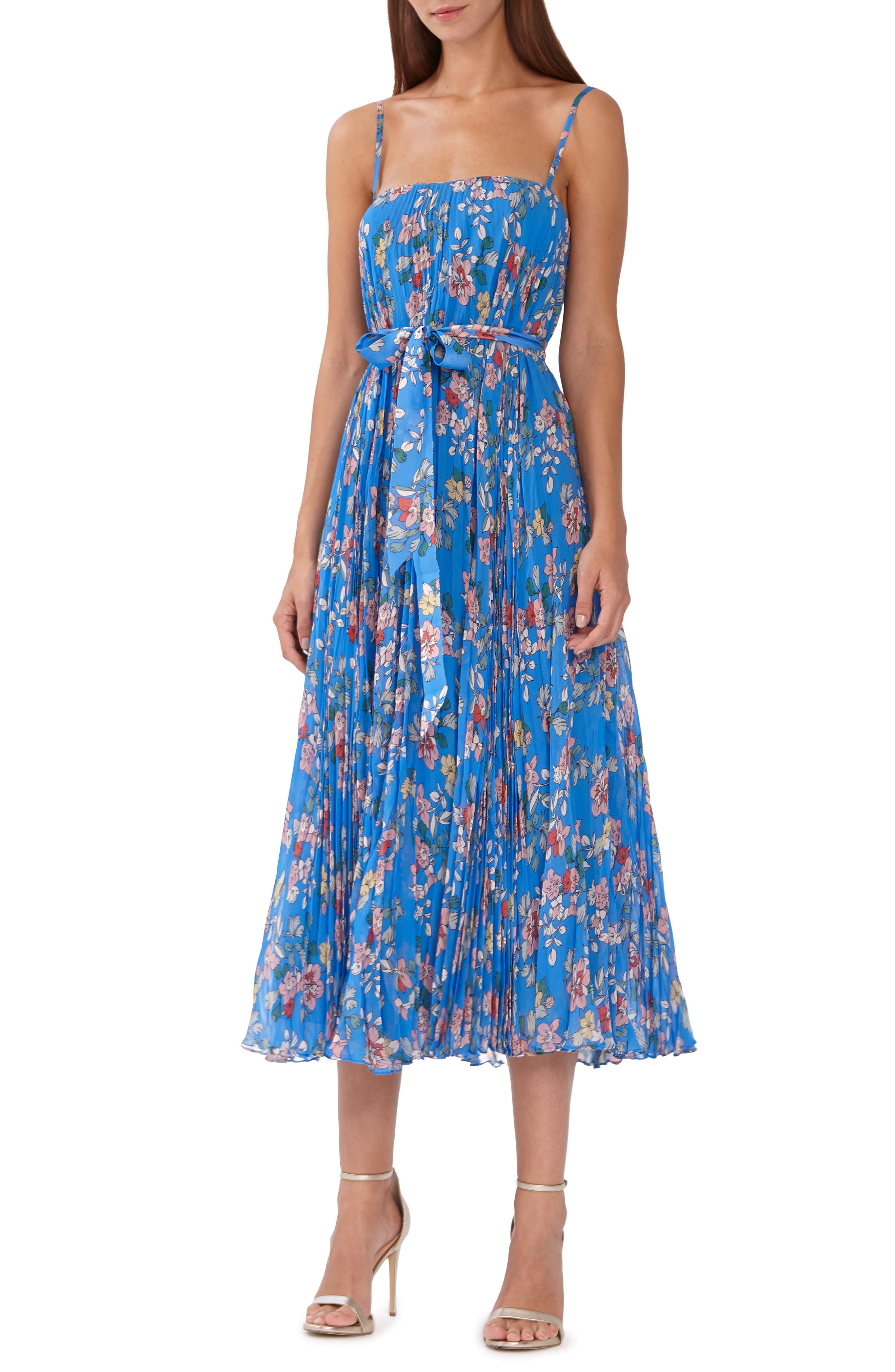 ML MONIQUE LHUILLIER ML Monique Lhuilier Floral Chiffon Midi Dress, Main, color, CAPRI MULTI