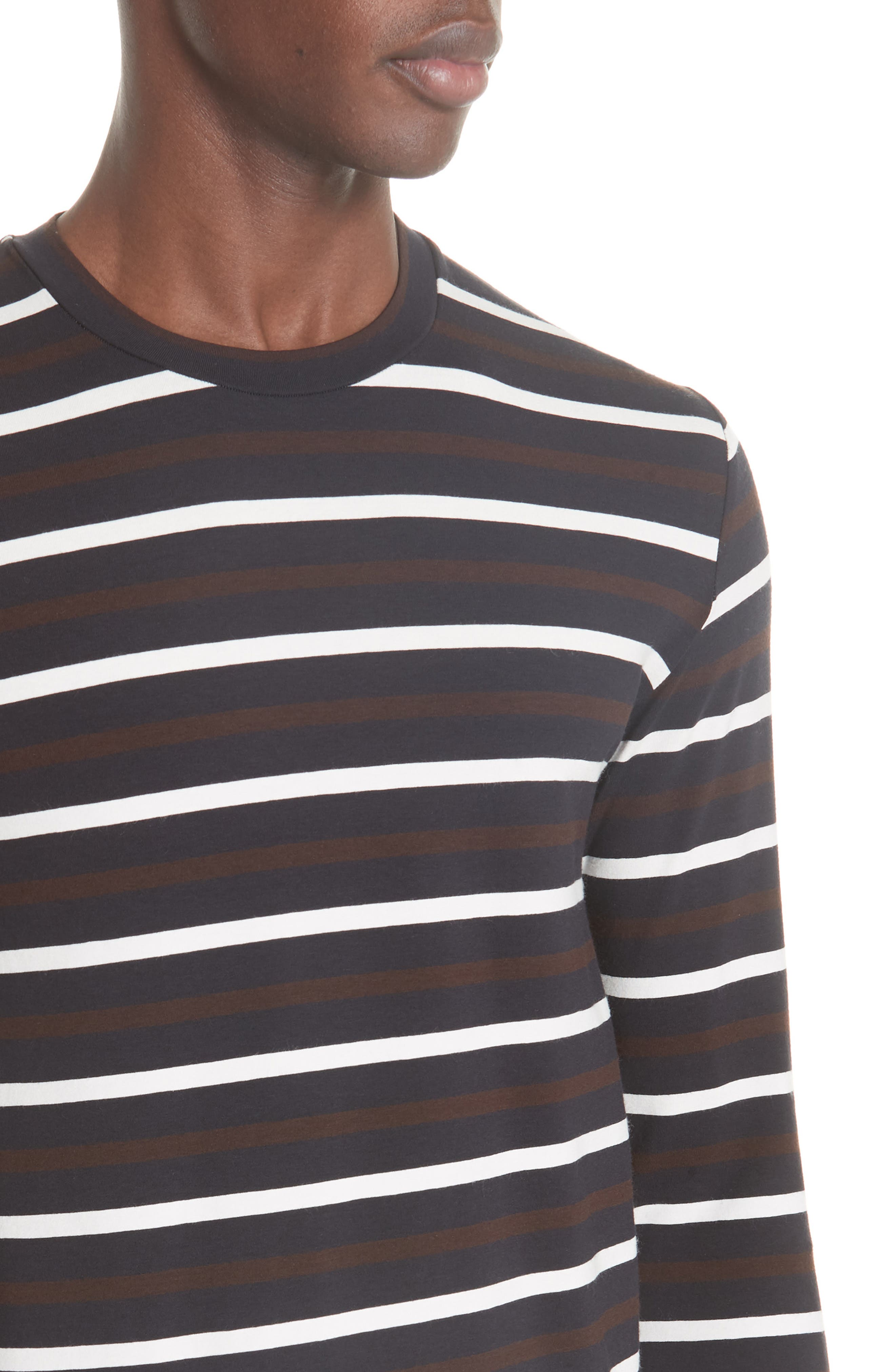 Technical Stripe Long Sleeve T-Shirt,                             Alternate thumbnail 4, color,                             BROWN
