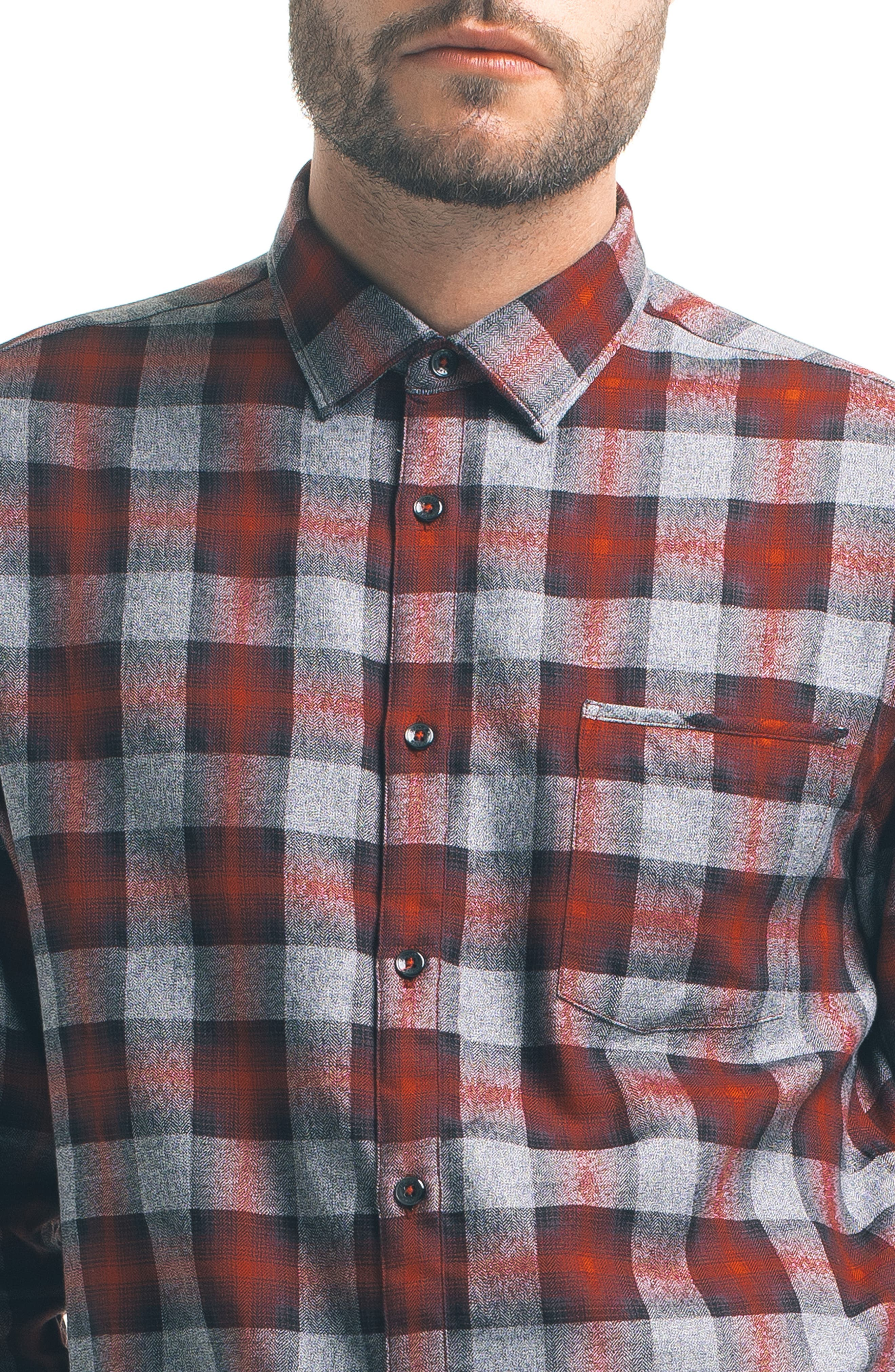 Slim Fit Plaid Sport Shirt,                             Alternate thumbnail 4, color,                             600