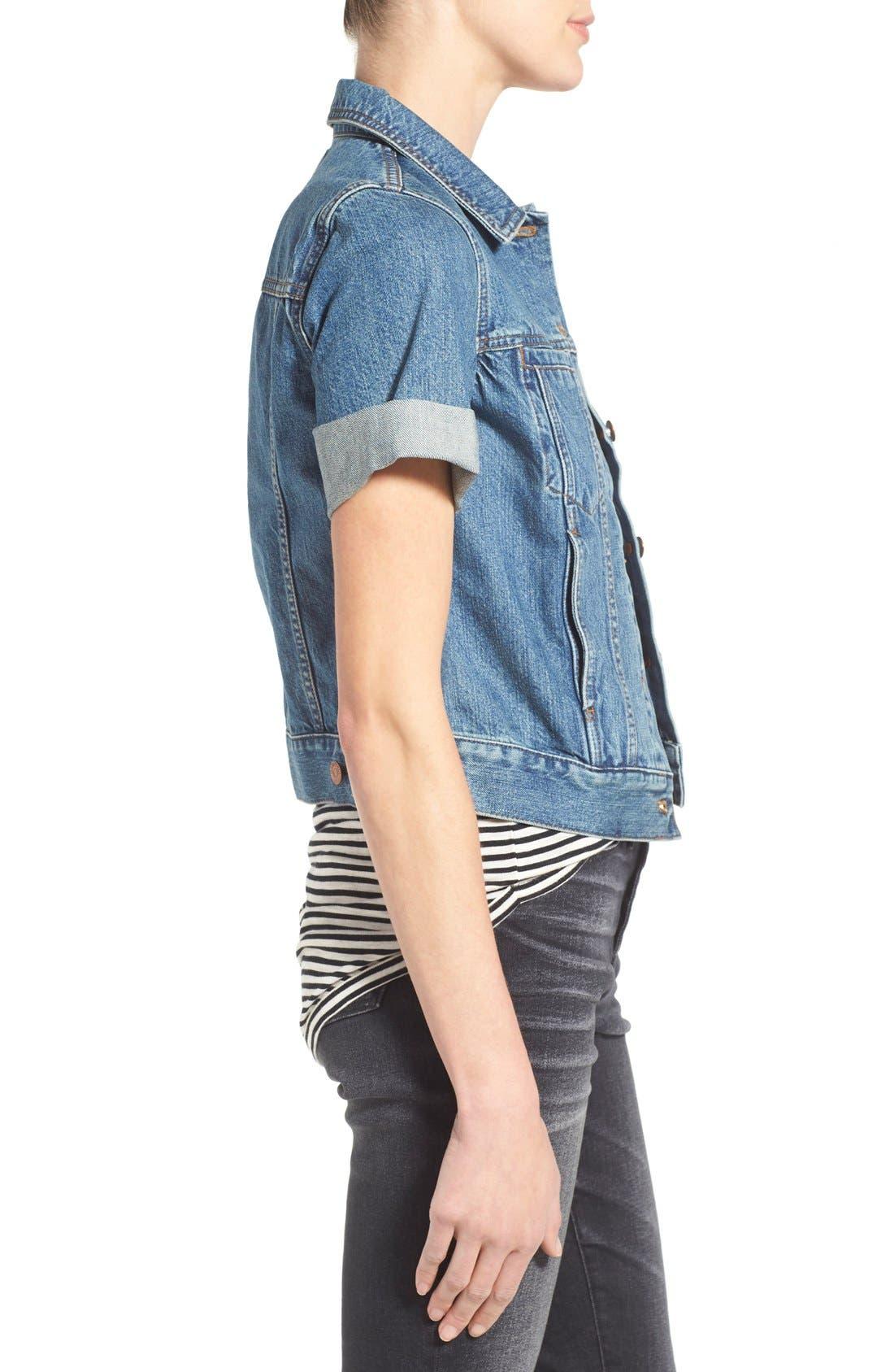 'Summer' Short Sleeve Denim Jacket,                             Alternate thumbnail 4, color,                             407