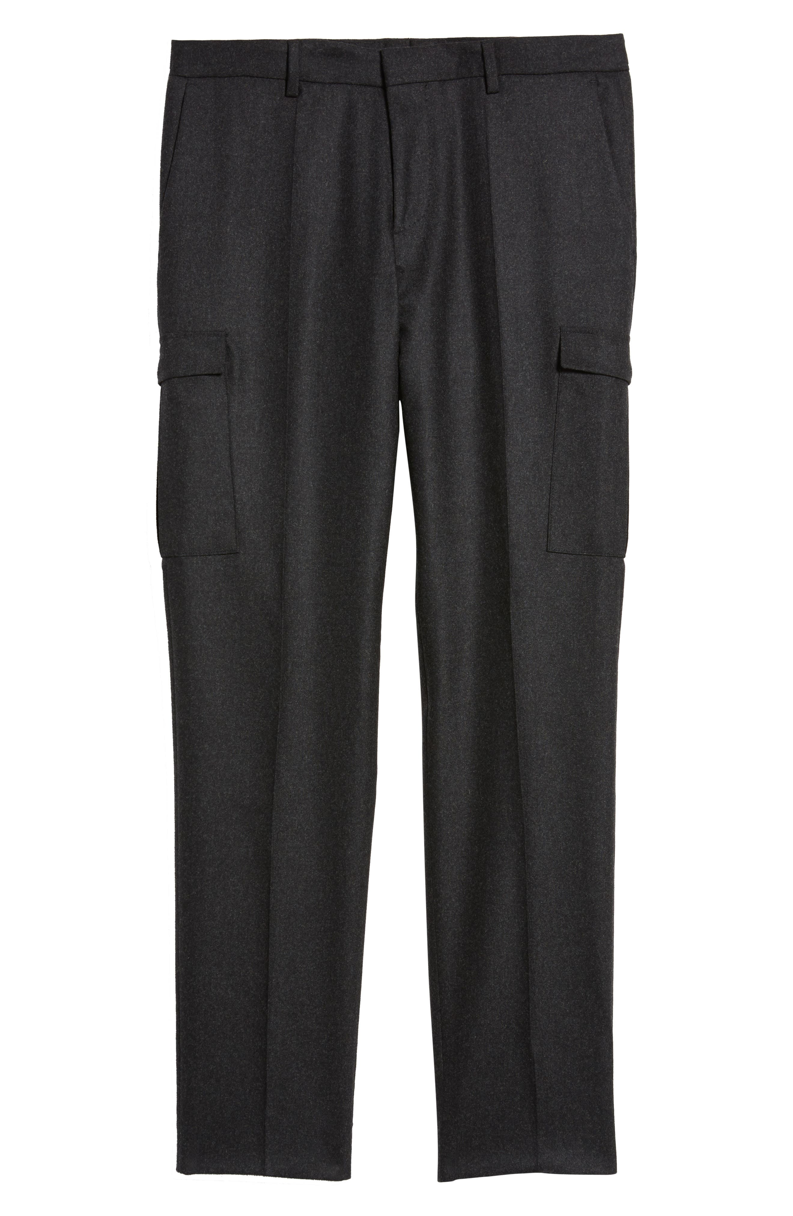 Balour Flat Front Stretch Solid Wool & Cashmere Cargo Trousers,                             Alternate thumbnail 6, color,