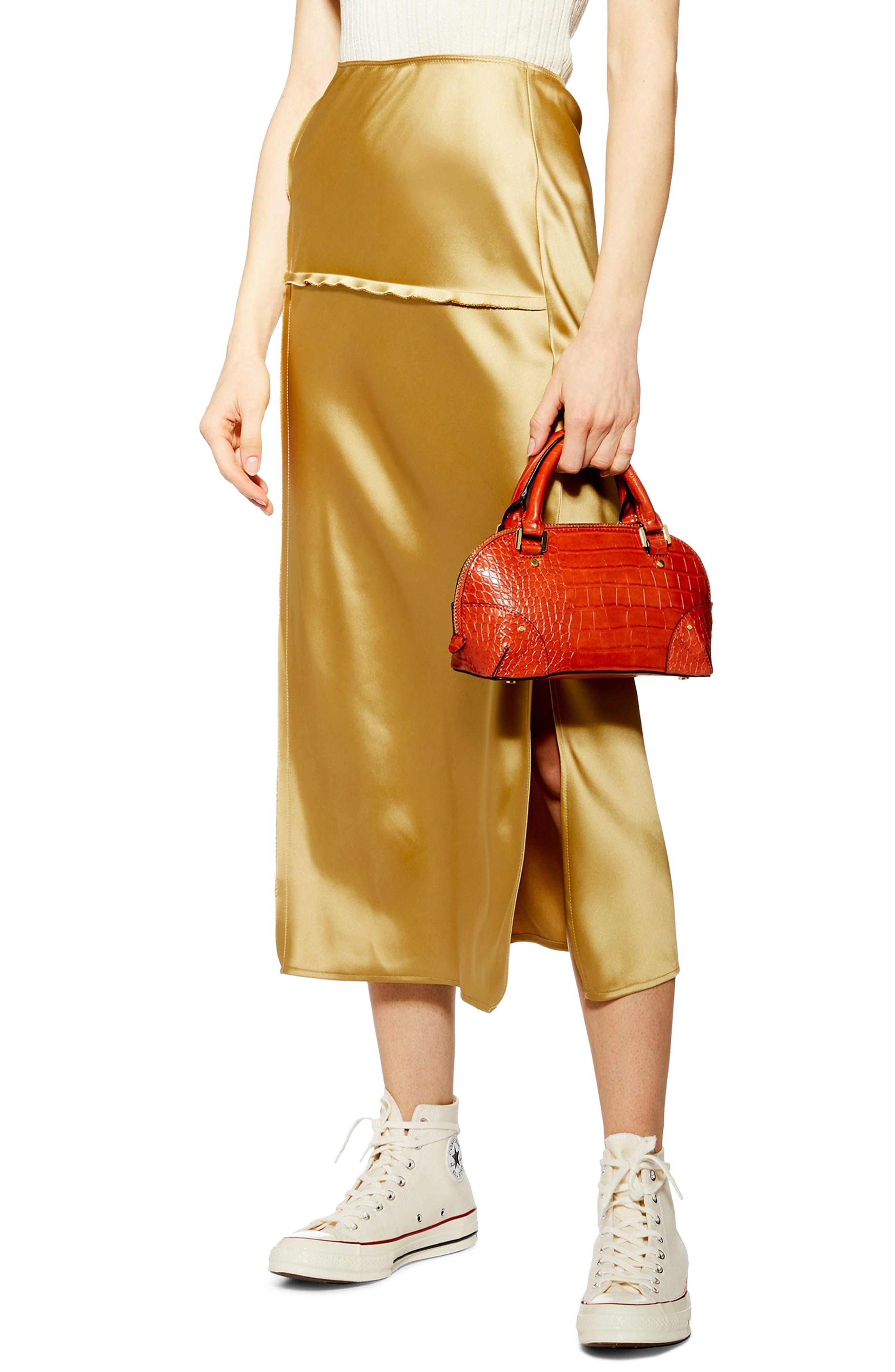 Topshop Bias Cut Midi Skirt, US (fits like 14) - Metallic