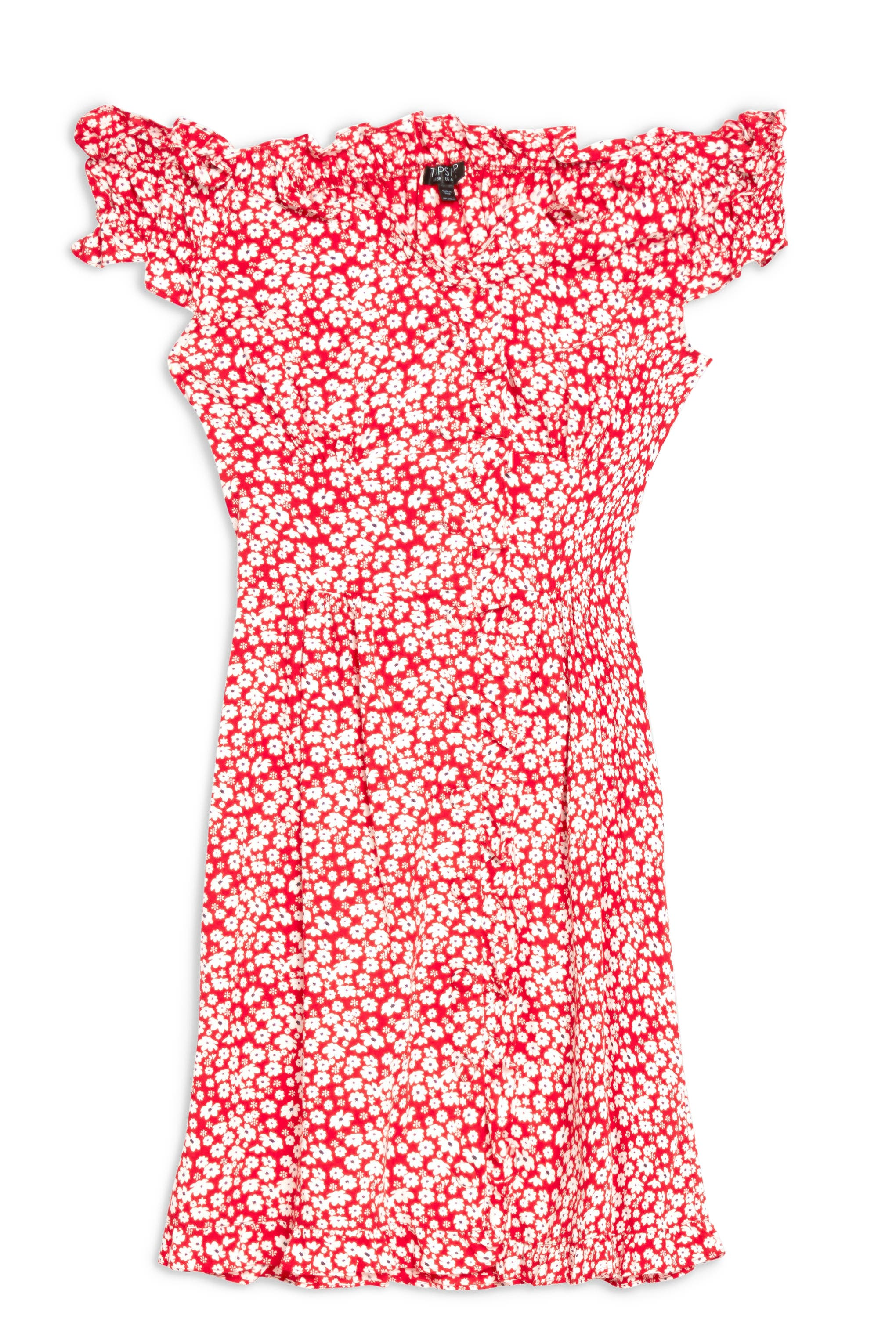 TOPSHOP,                             Ditsy Floral Minidress,                             Alternate thumbnail 4, color,                             RED MULTI
