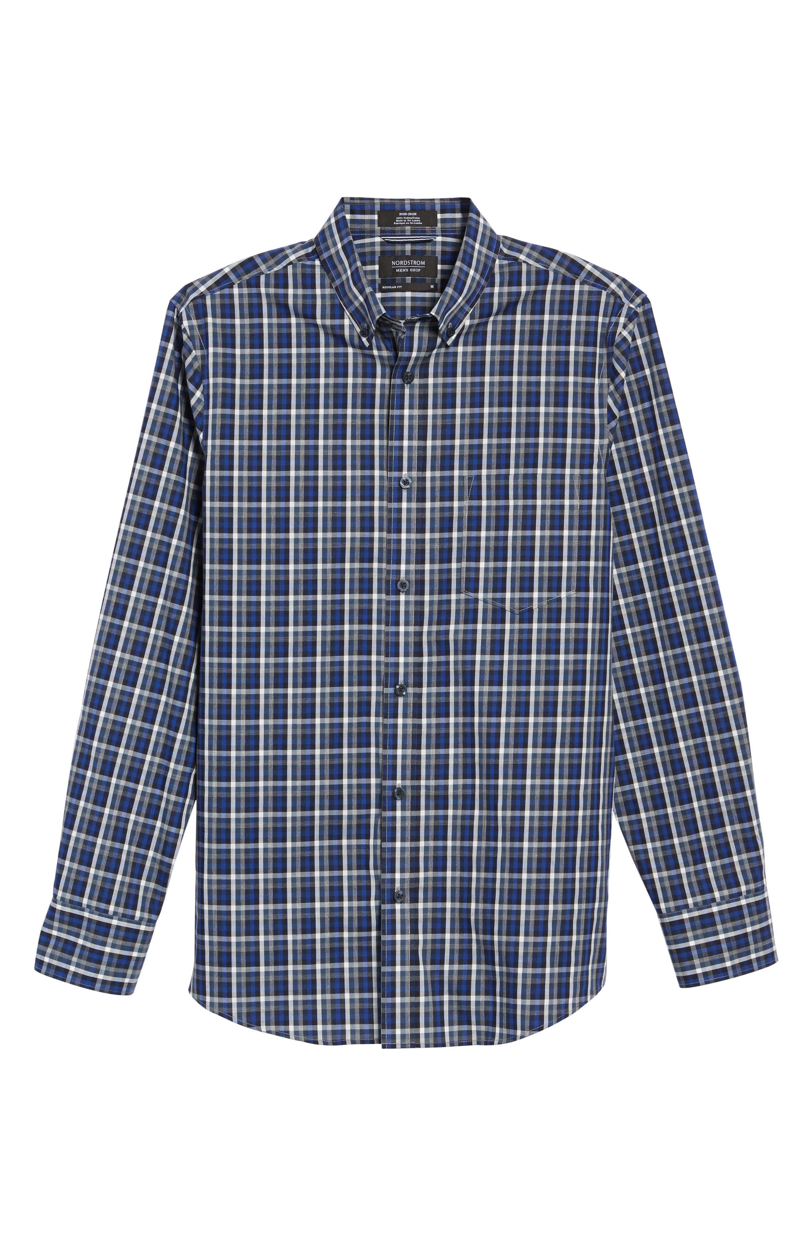 Regular Fit Non-Iron Spade Check Dress Shirt,                             Alternate thumbnail 6, color,                             401