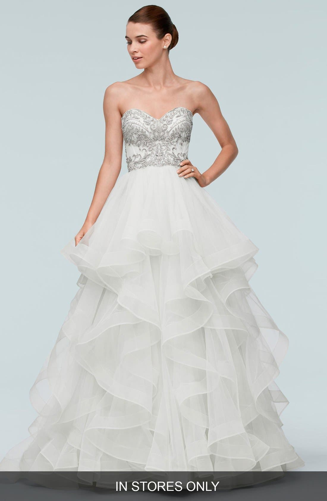 Meri Beaded Strapless Layered Tulle Gown,                         Main,                         color, 907