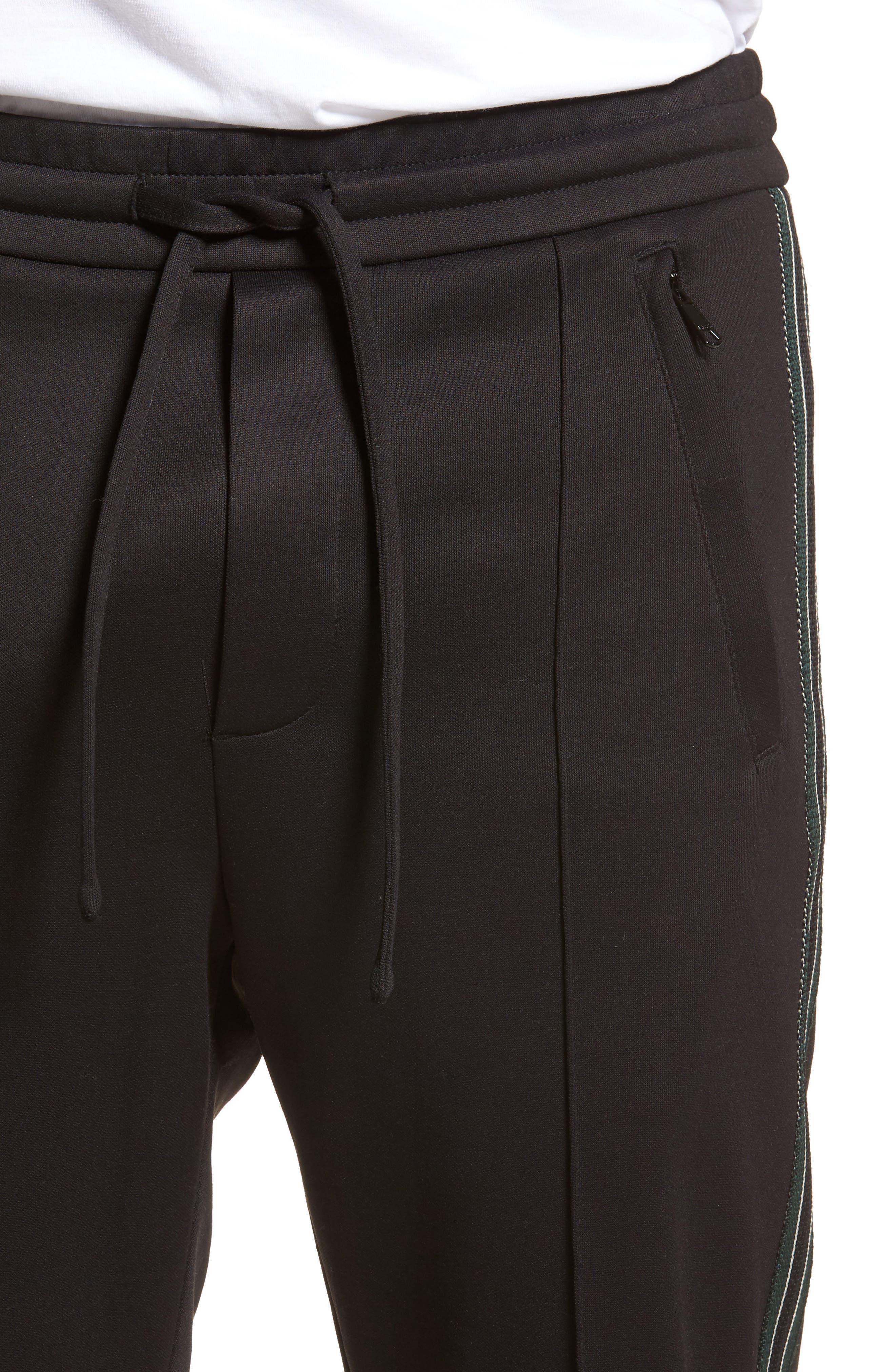 Slim Fit Track Pants,                             Alternate thumbnail 4, color,                             BLACK