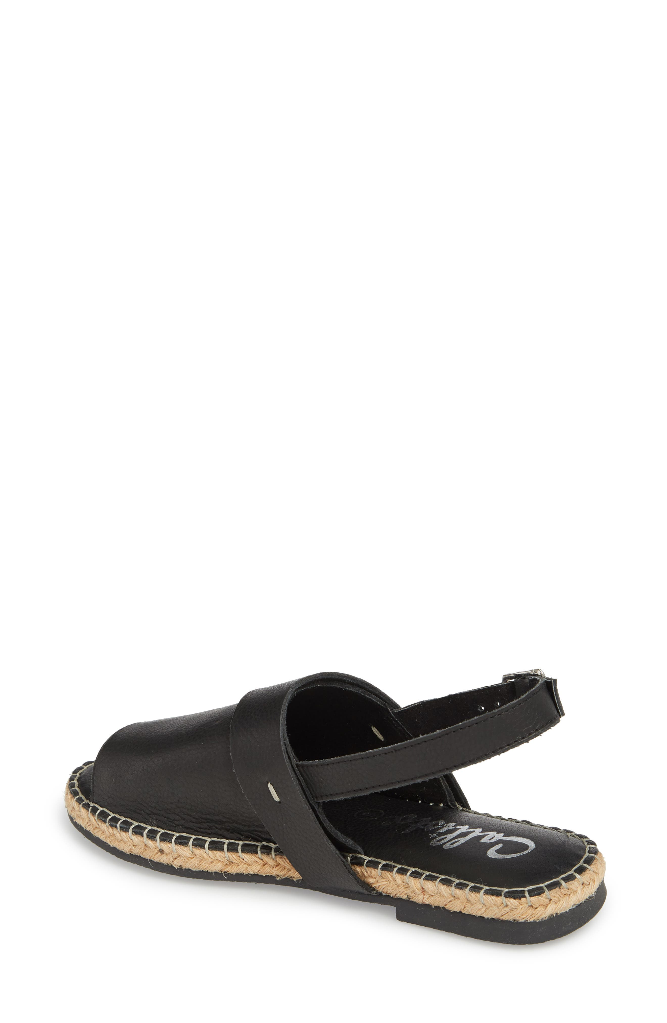 Turn Key Espadrille Sandal,                             Alternate thumbnail 2, color,                             BLACK LEATHER