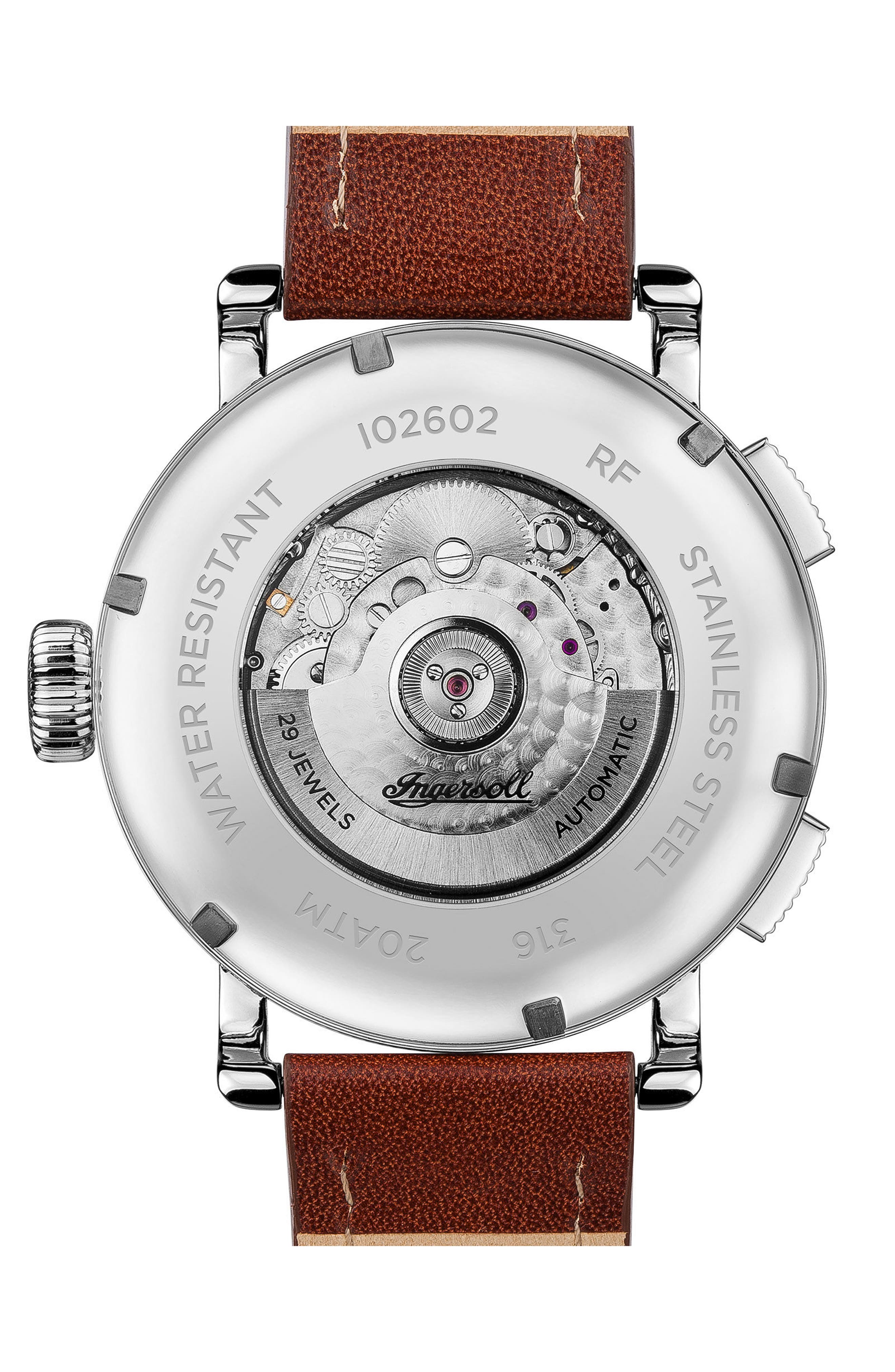 Ingersoll Bloch Open Heart Automatic Multifunction Leather Strap Watch, 45mm,                             Alternate thumbnail 6, color,