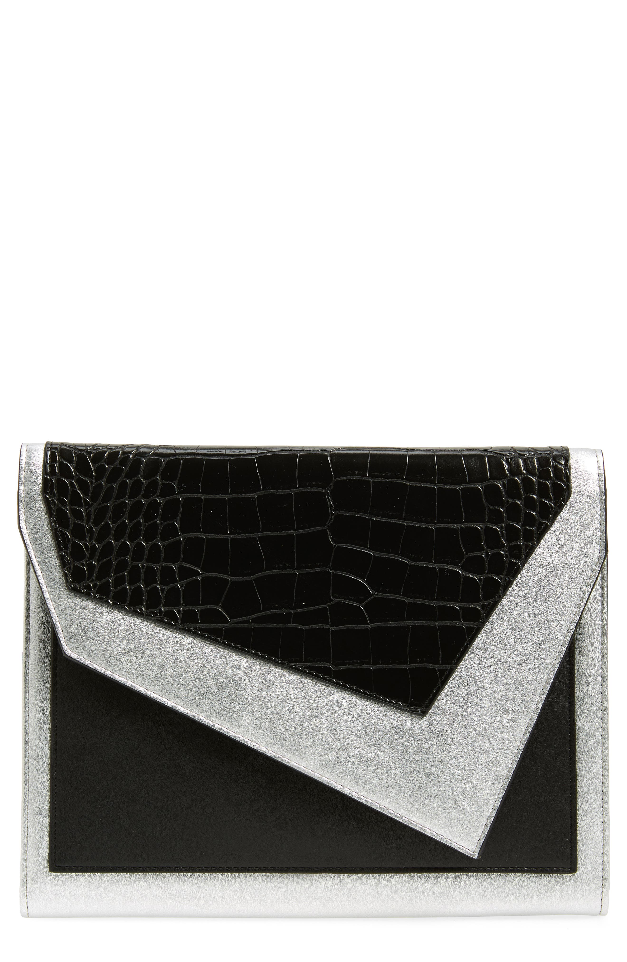LEITH Colorblock Faux Leather Envelope Clutch, Main, color, 001