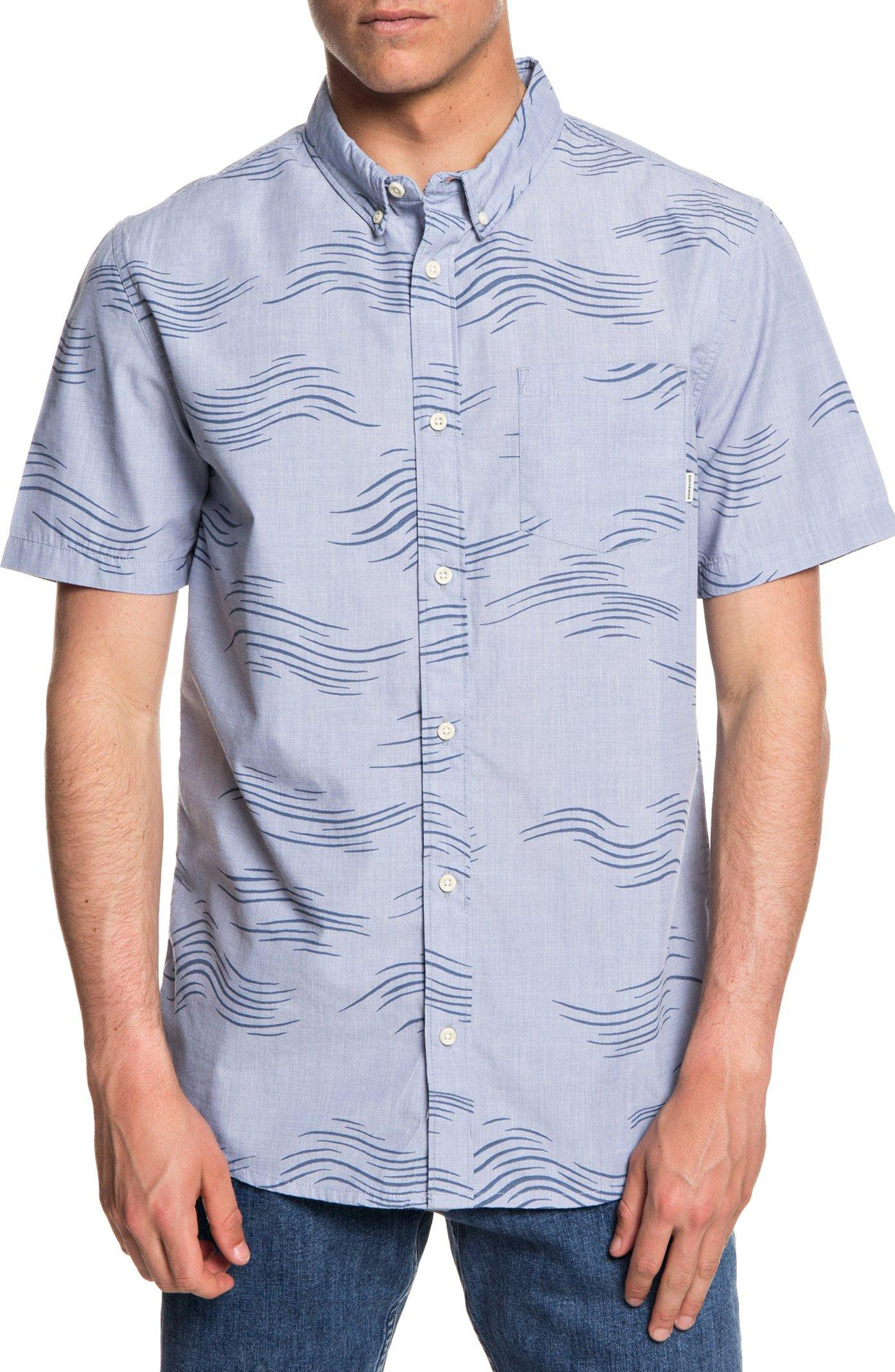 Valley Groove Print Woven Shirt,                         Main,                         color, BIJOU BLUE VALLEY GROVE