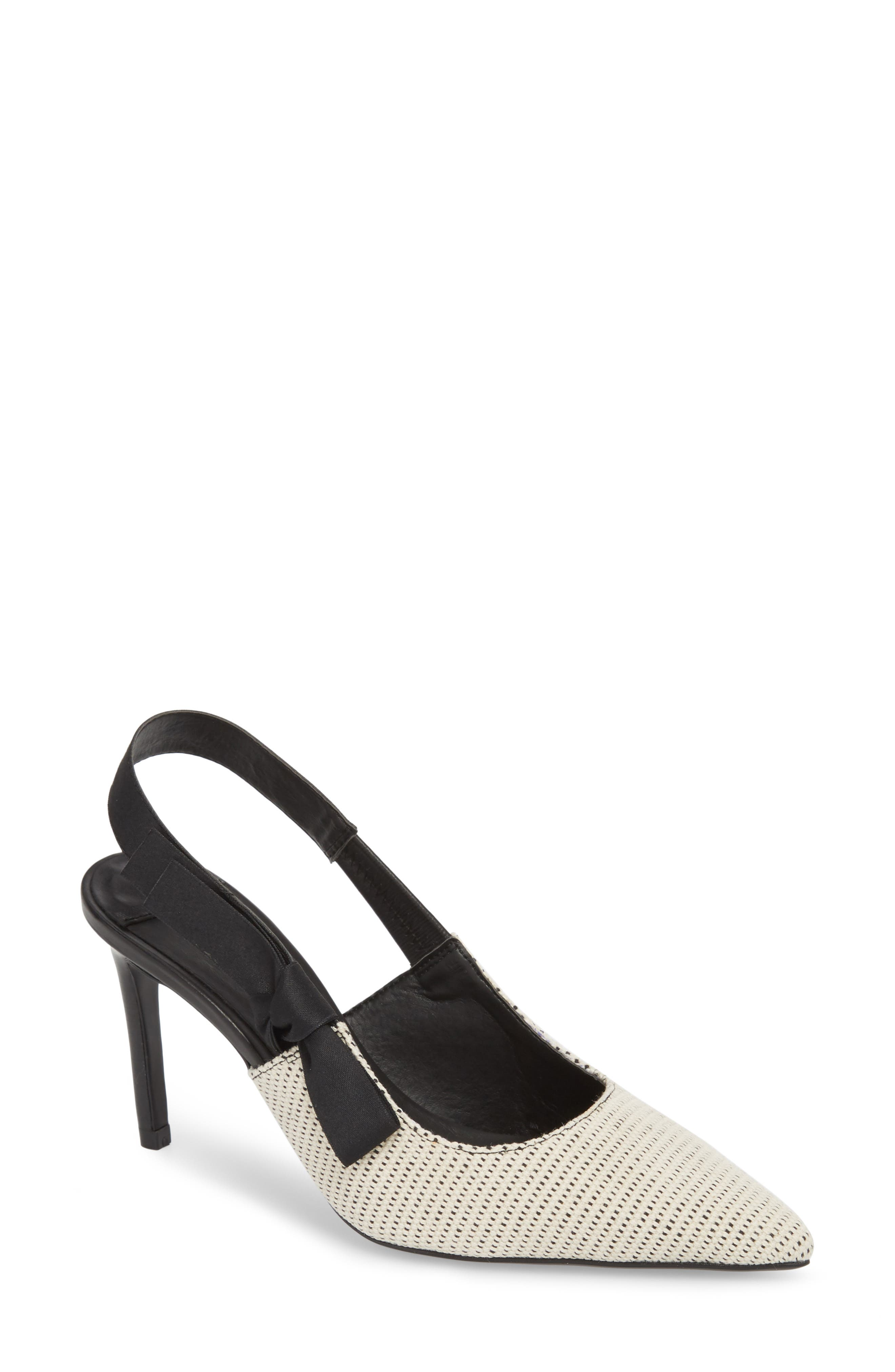 Evita Sandal,                             Main thumbnail 1, color,                             WHITE/ BLACK FABRIC
