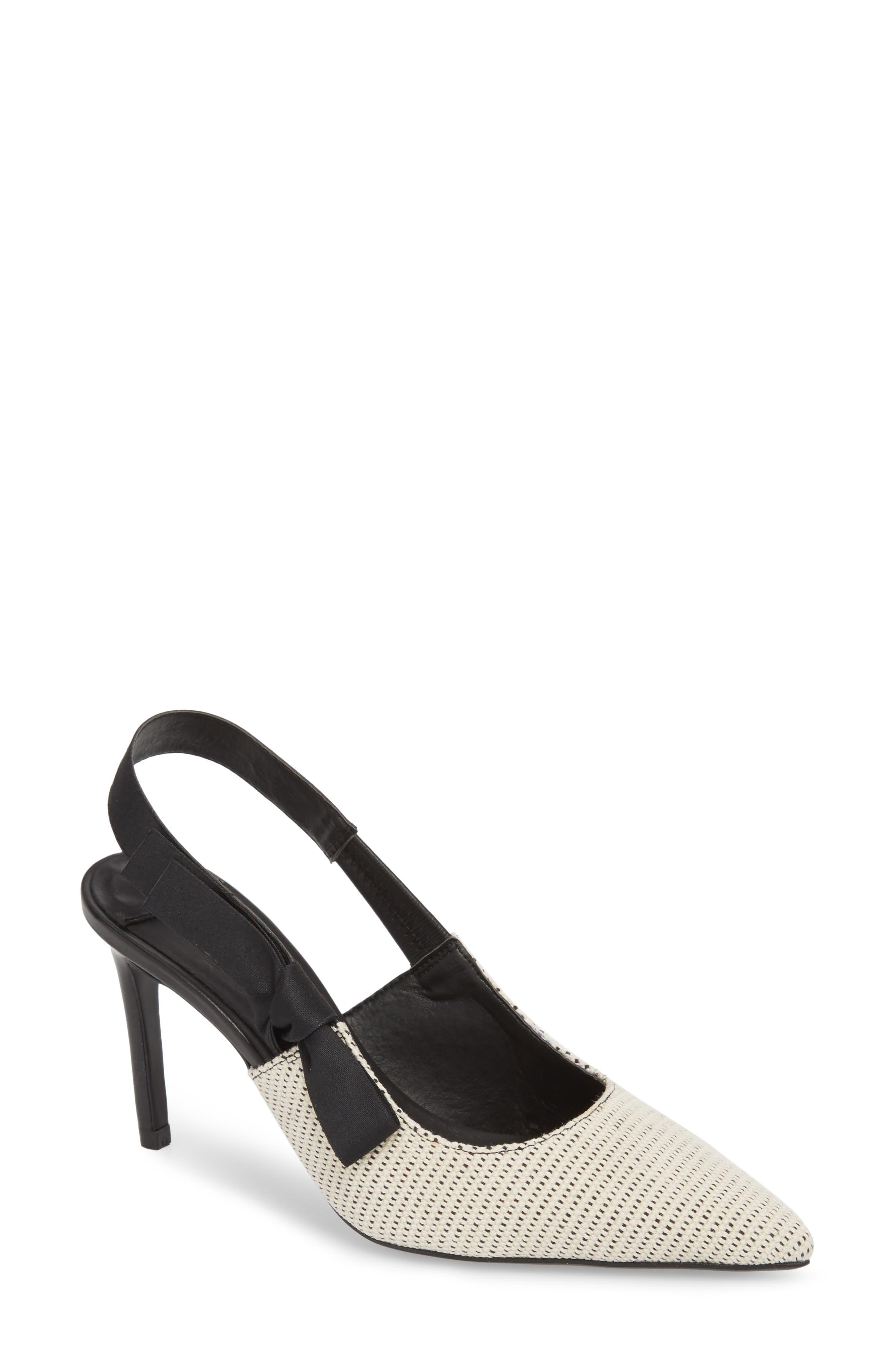Evita Sandal,                         Main,                         color, WHITE/ BLACK FABRIC