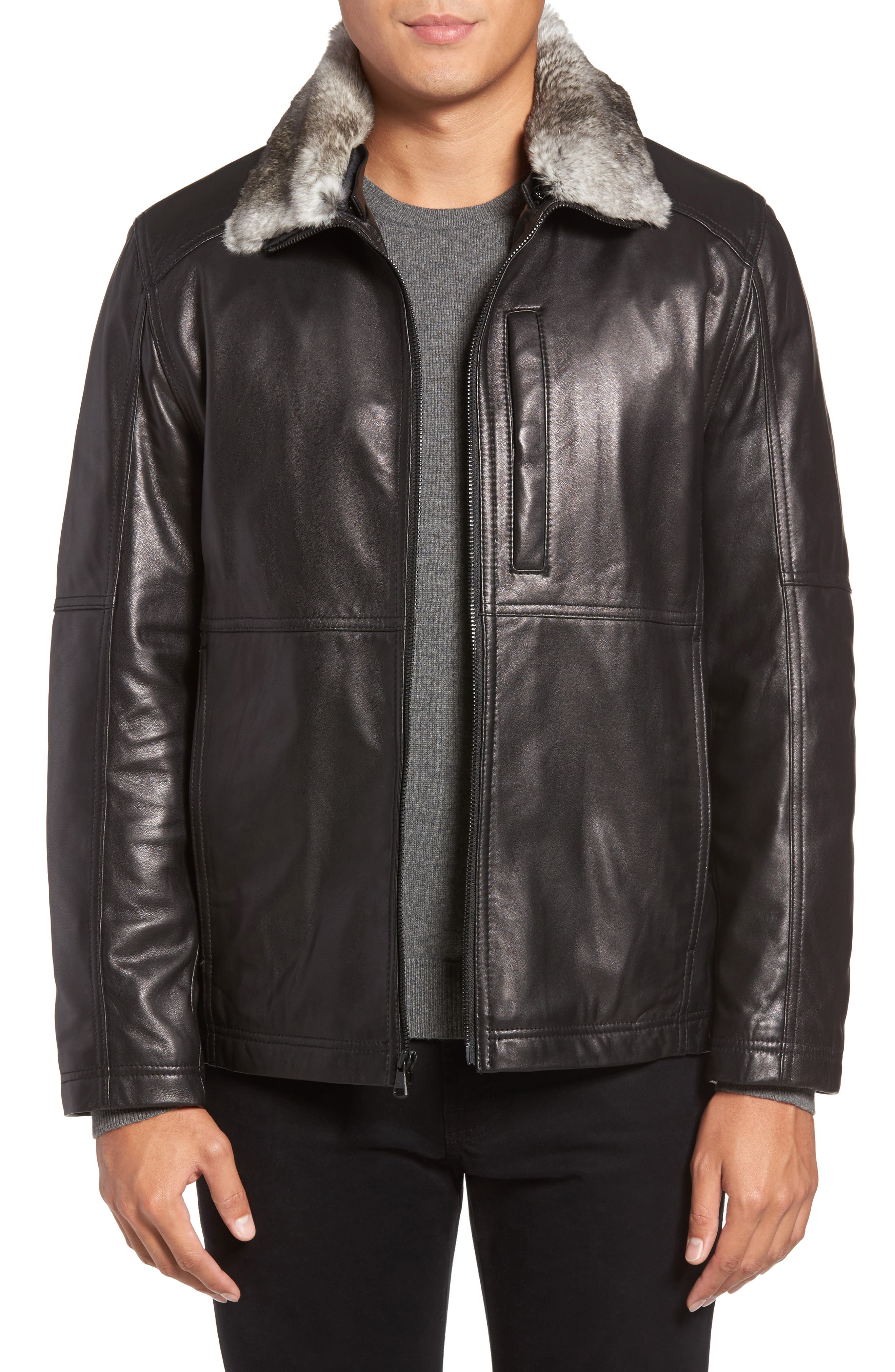 Lambskin Leather Jacket with Genuine Rabbit Fur Trim,                             Main thumbnail 1, color,