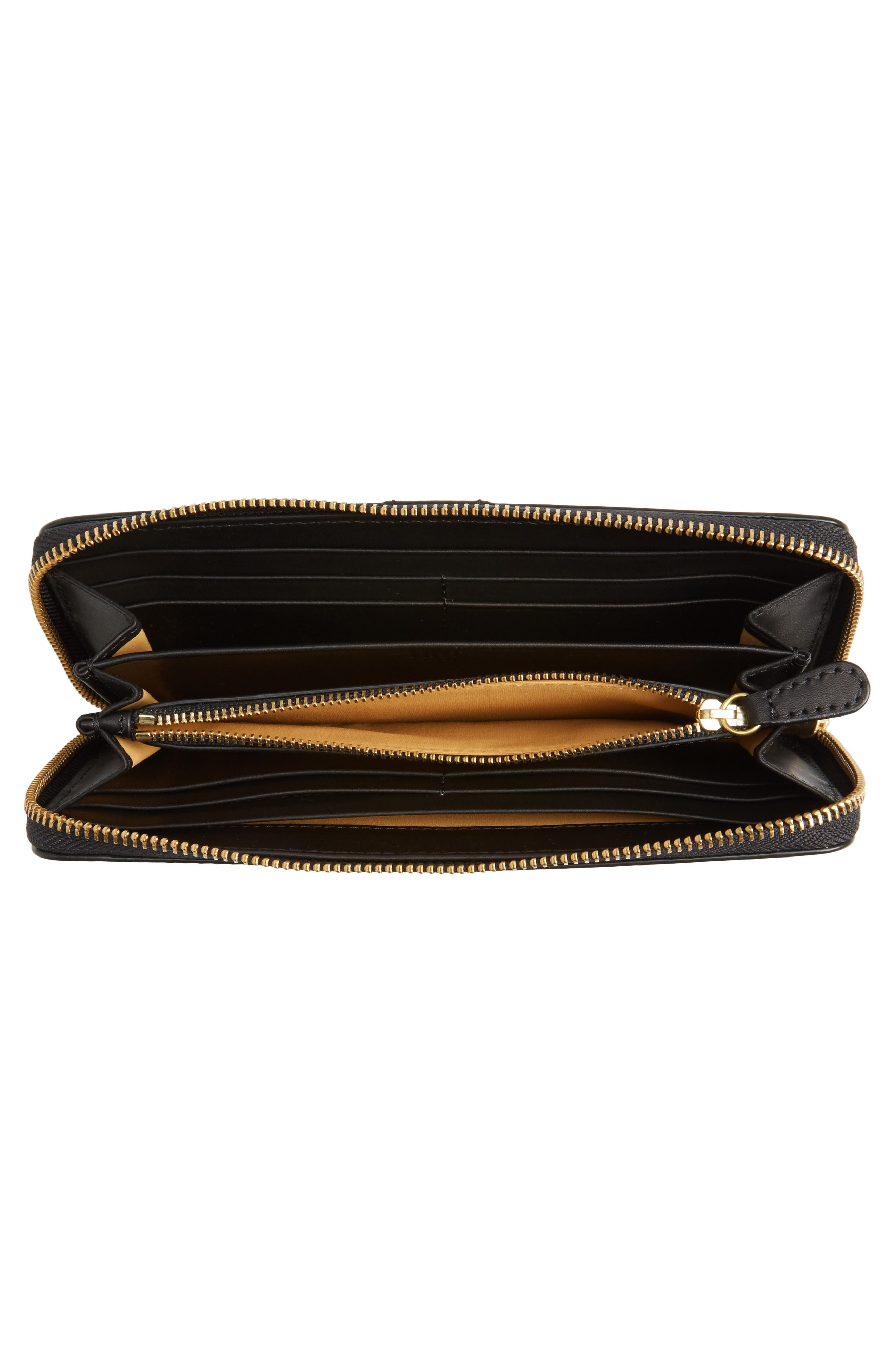 Ilana Harness Leather Zip Wallet,                             Alternate thumbnail 4, color,                             001