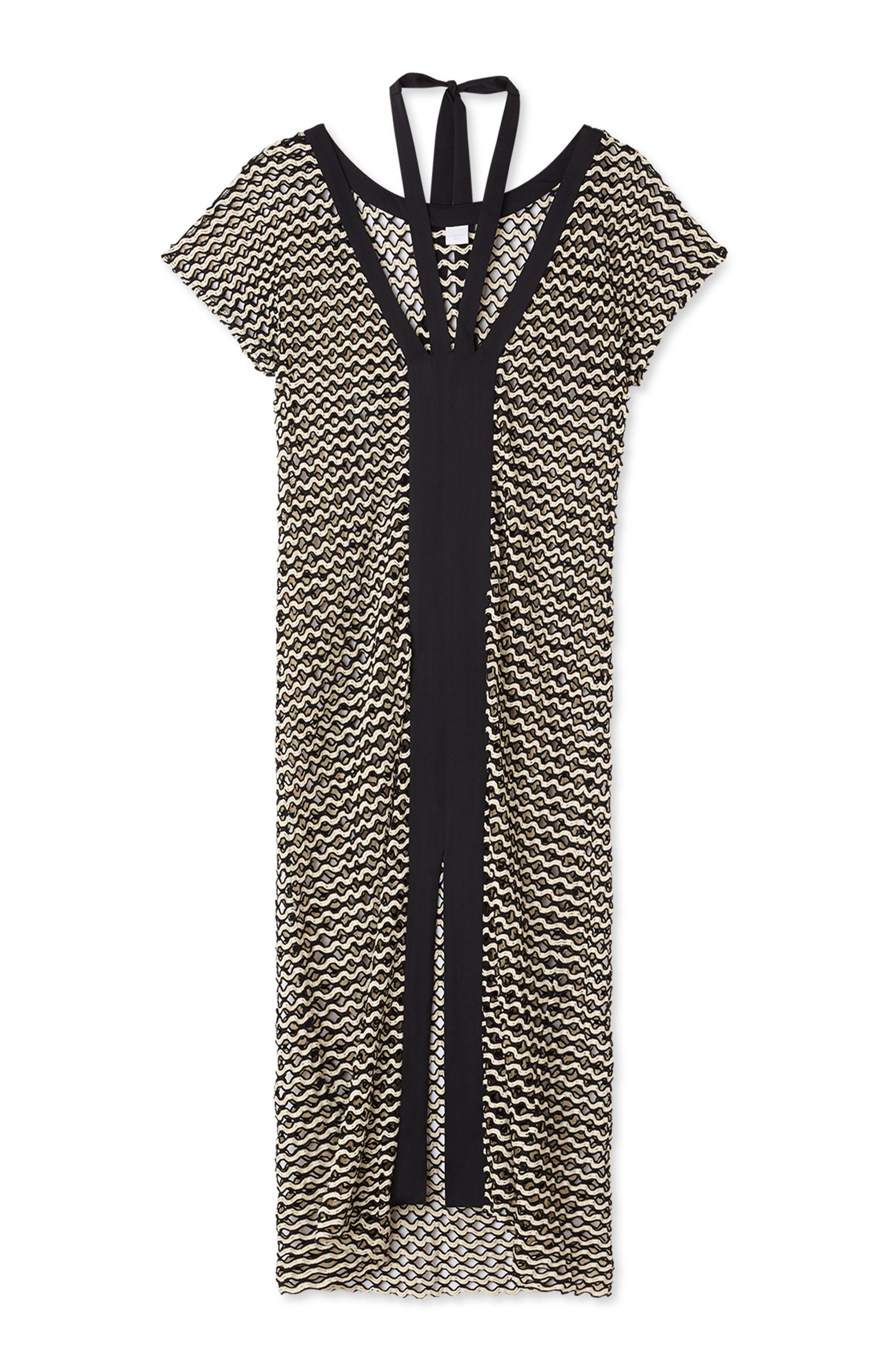 FLAGPOLE Opal Caftan Cover-Up in Ivory/ Black Scallop