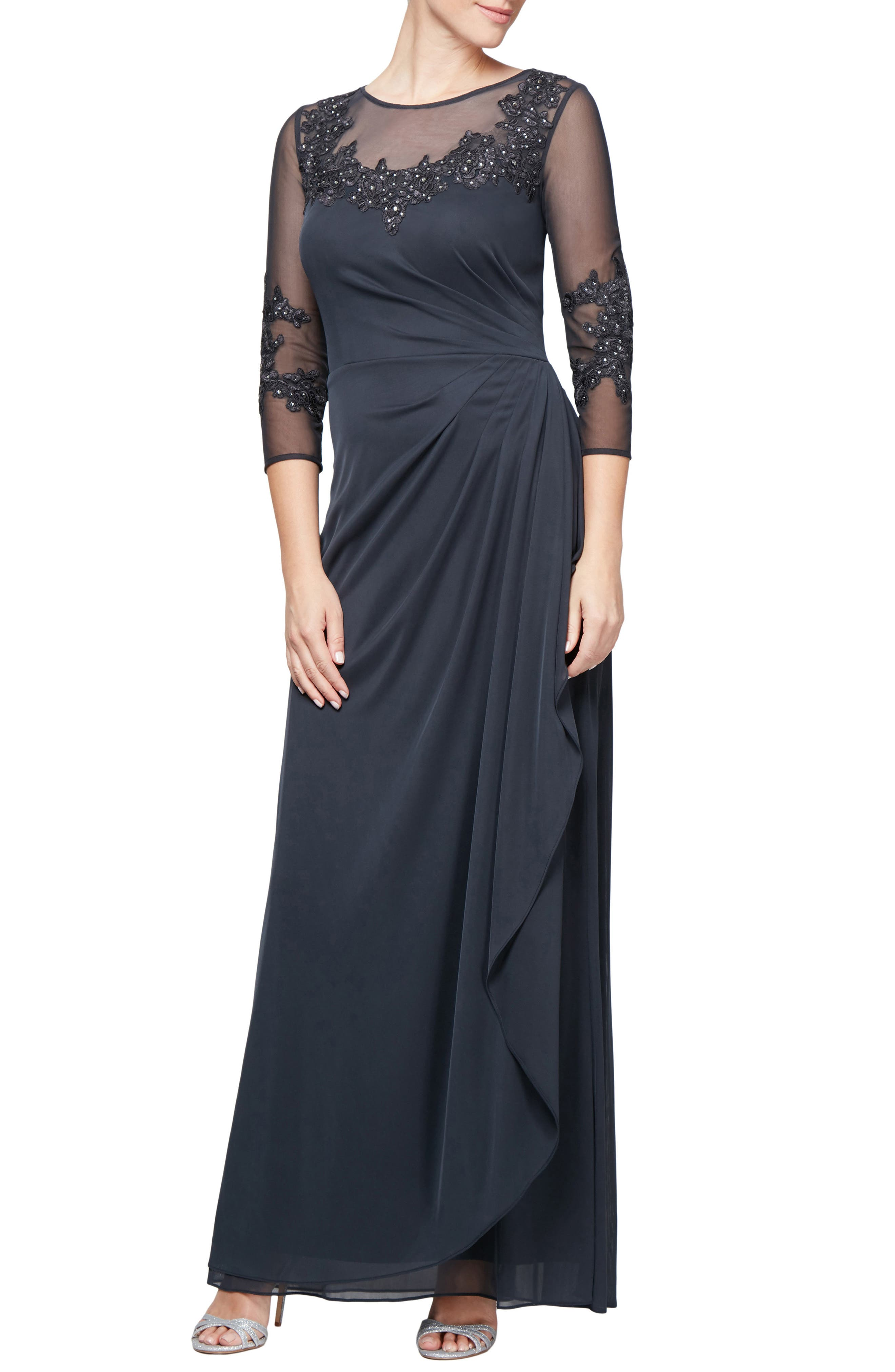 Embroidered Mesh Gown,                             Main thumbnail 1, color,                             CHARCOAL