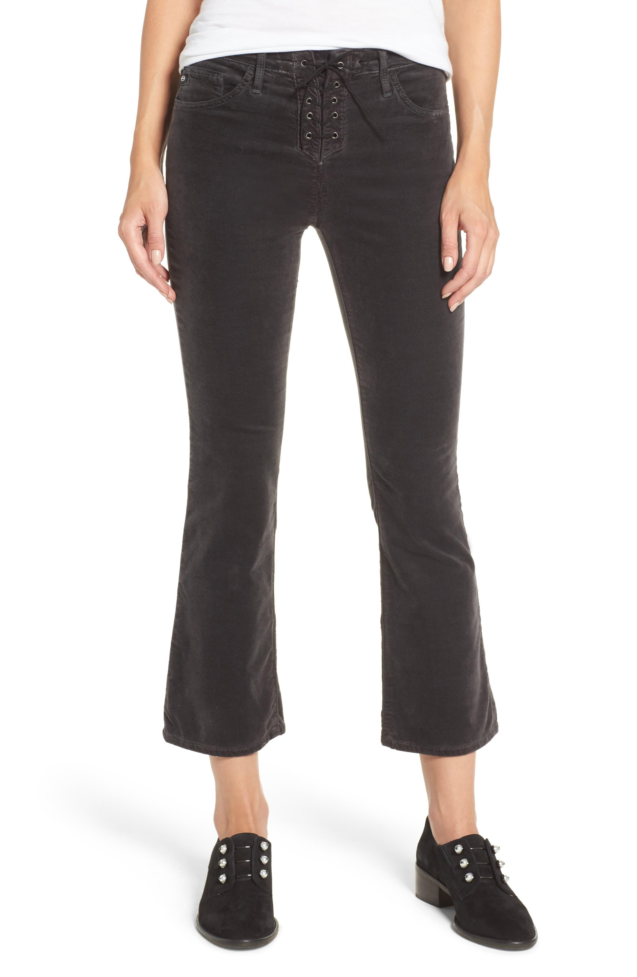 Jodi Lace-Up Crop Jeans,                             Main thumbnail 1, color,                             003