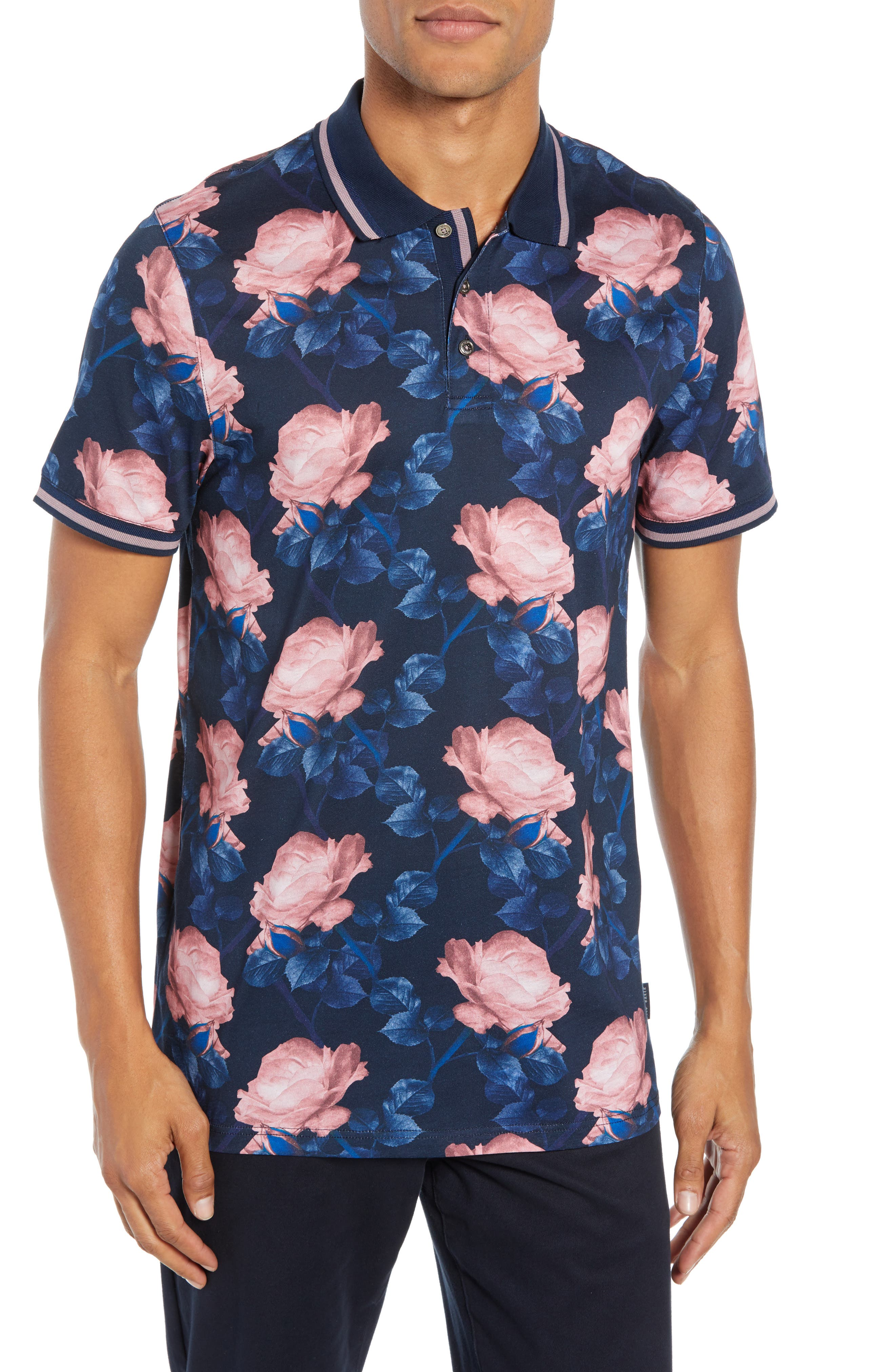 Slim Fit Lively Floral Print Polo,                         Main,                         color, NAVY