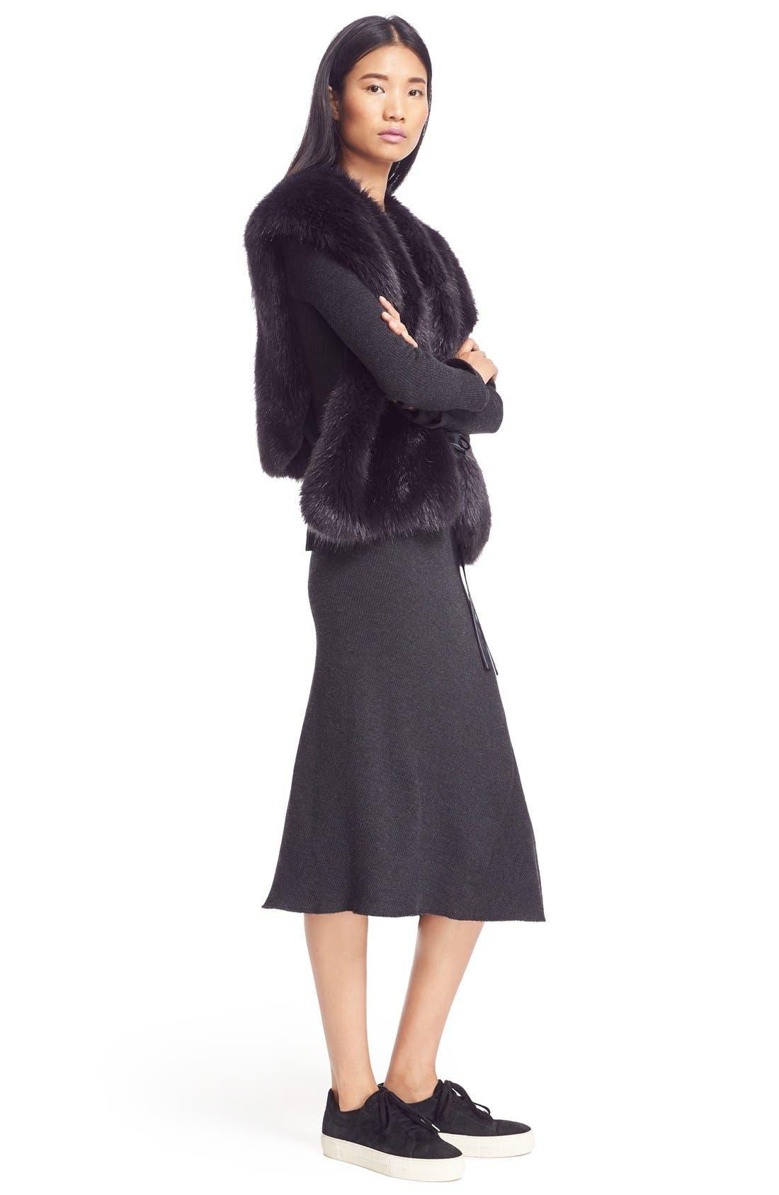 Faux Fur Wrap Tie Vest,                             Alternate thumbnail 4, color,                             410