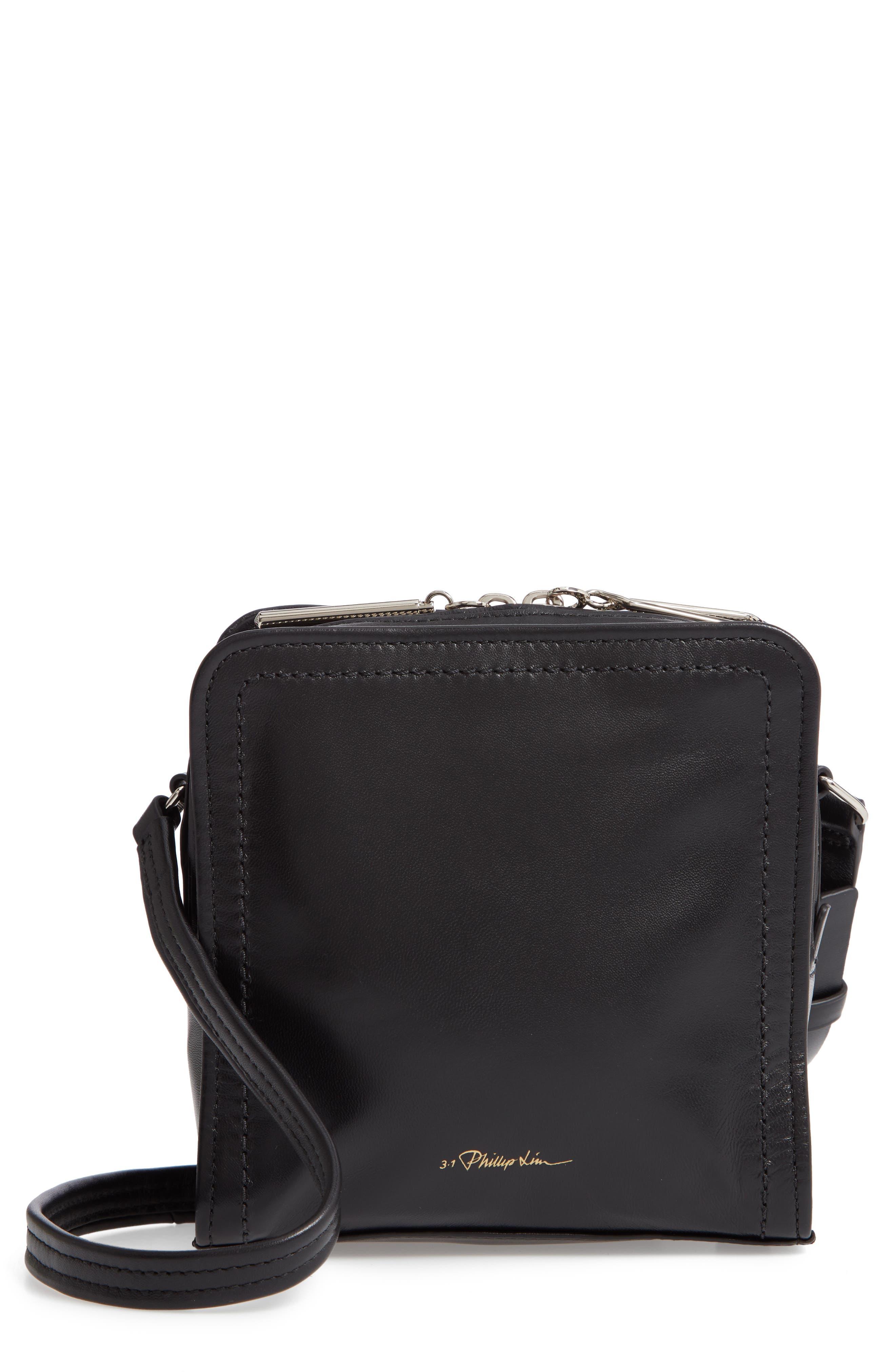 Hudson Mini Square Leather Crossbody Bag,                         Main,                         color, 001