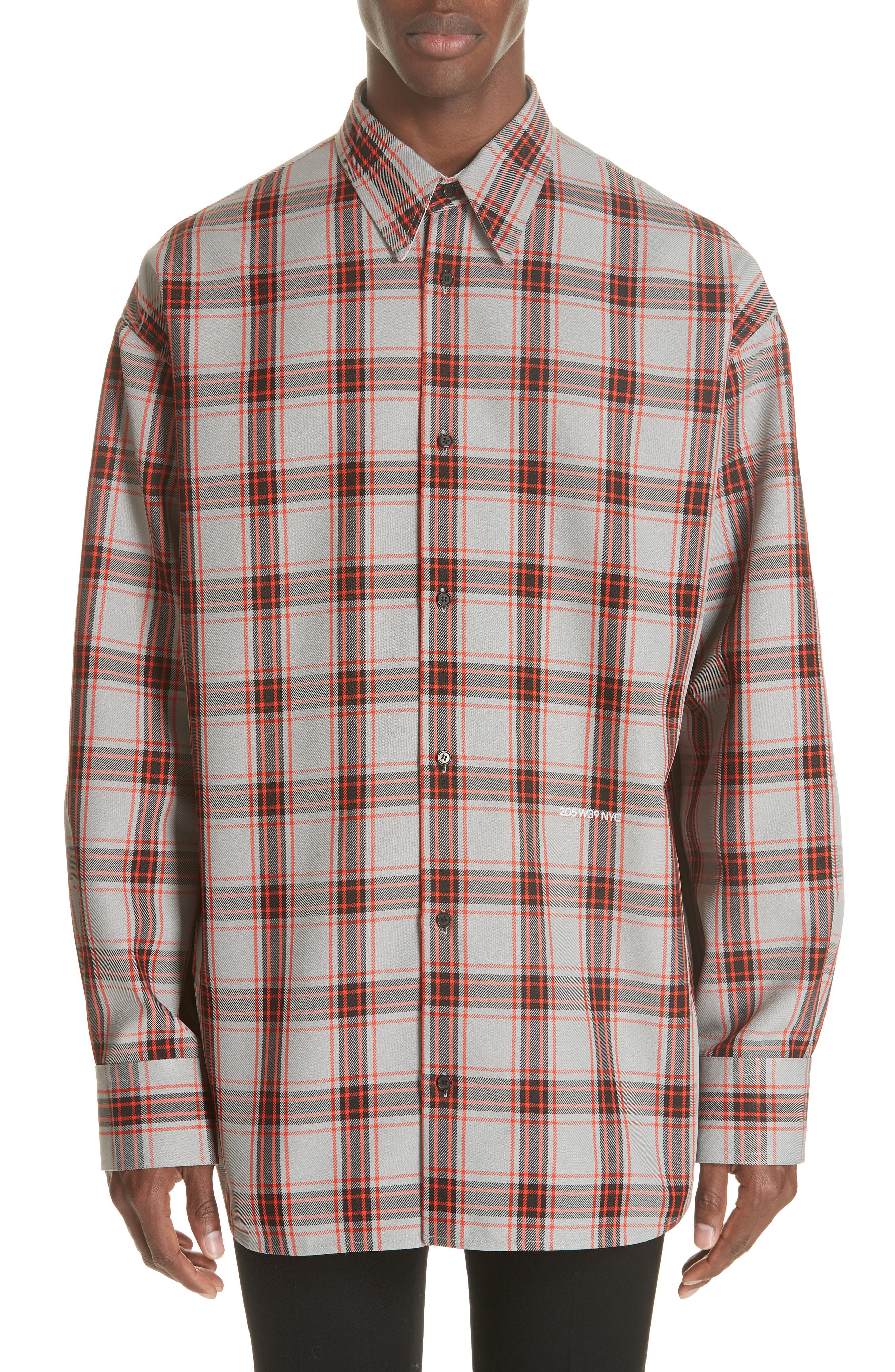 Oversize Plaid Twill Shirt,                         Main,                         color, GREY/ RED