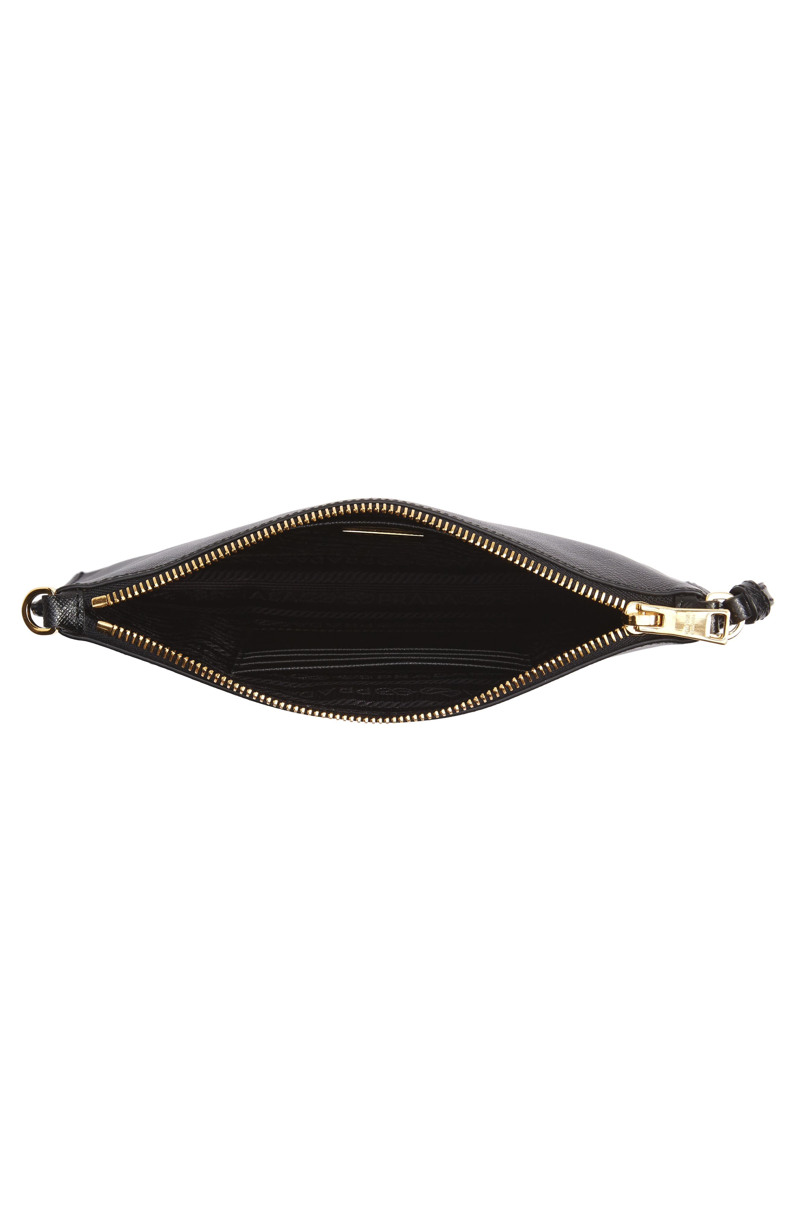 Small Saffiano Leather Shoulder Bag,                             Alternate thumbnail 4, color,                             F0002 NERO