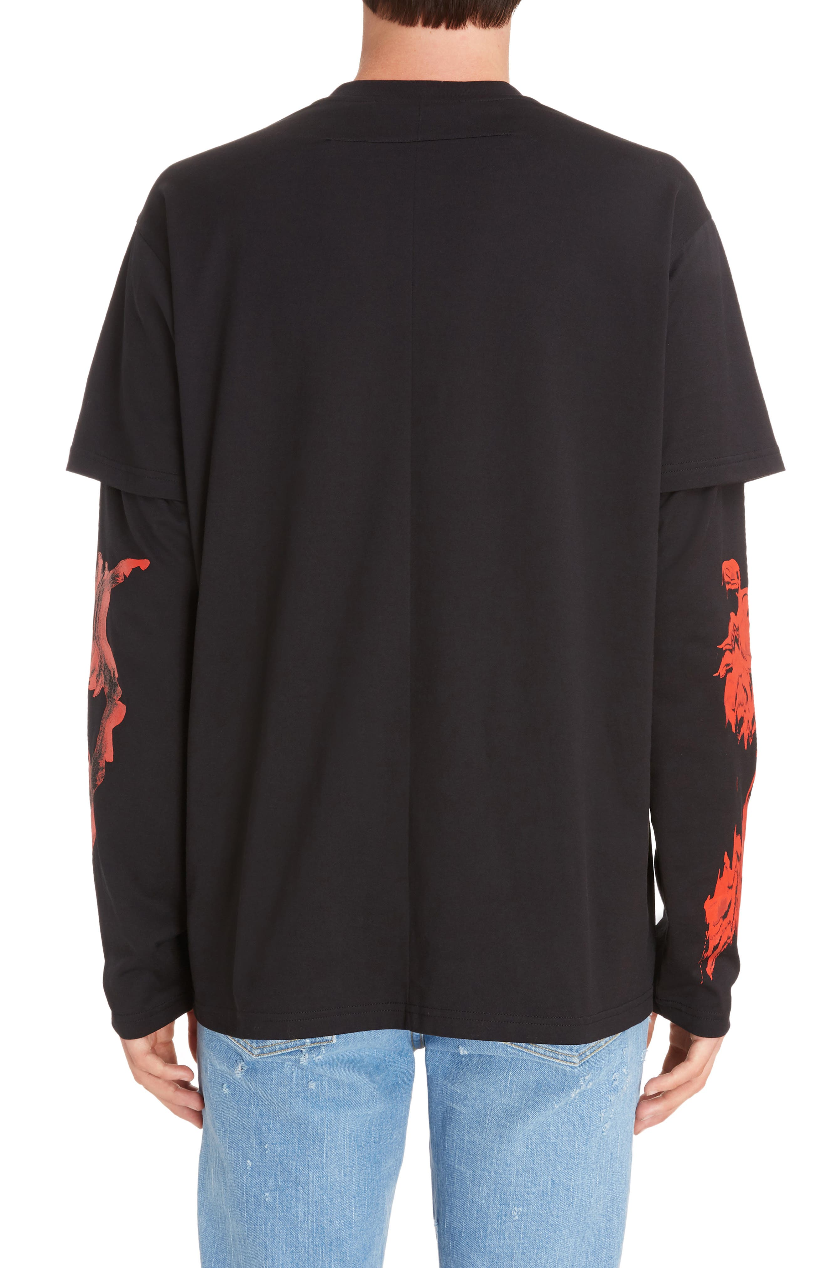 Rose Print Long Sleeve T-Shirt,                             Alternate thumbnail 2, color,                             009