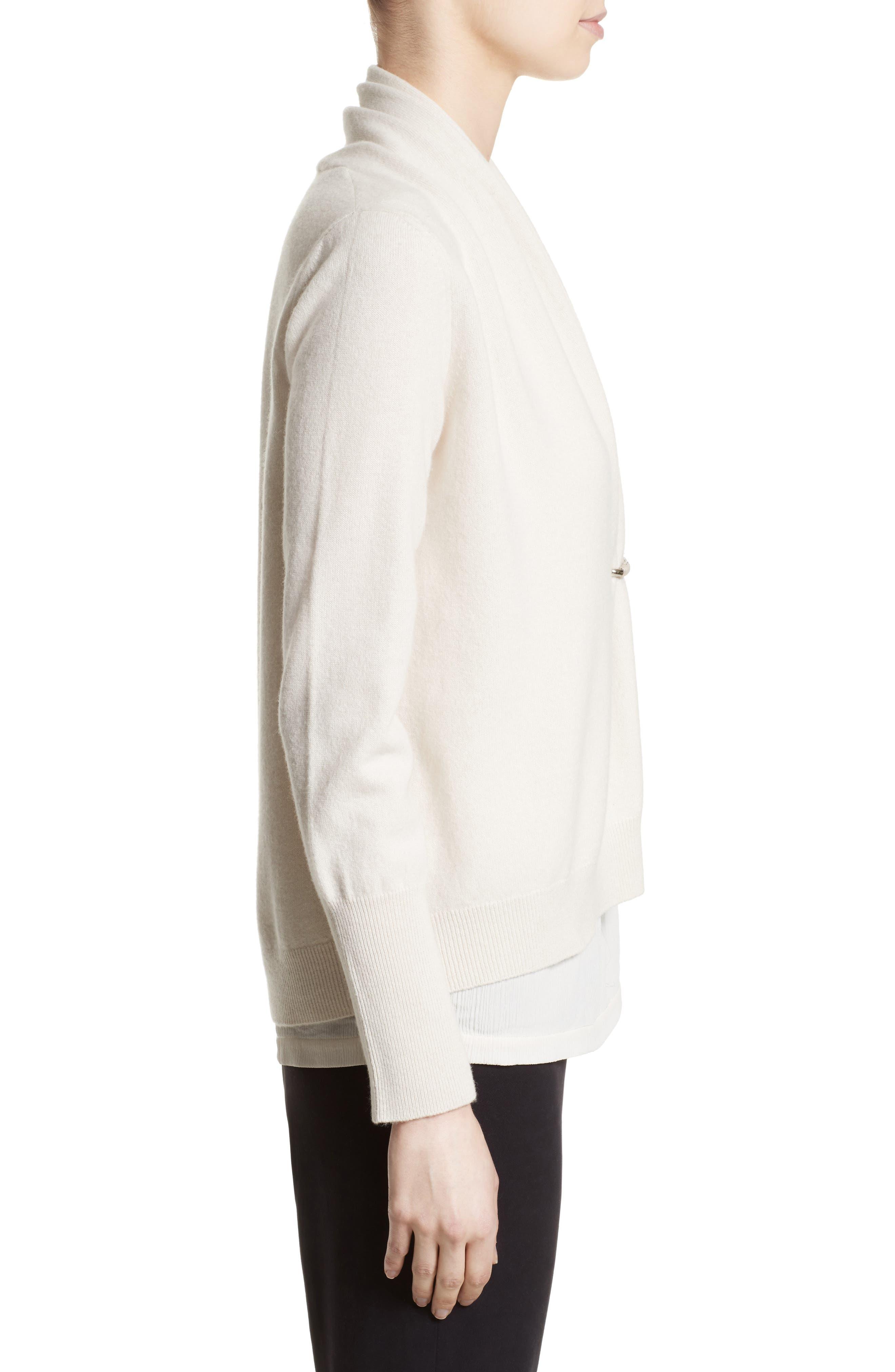 Wool, Silk & Cashmere Shawl Collar Cardigan,                             Alternate thumbnail 3, color,                             101