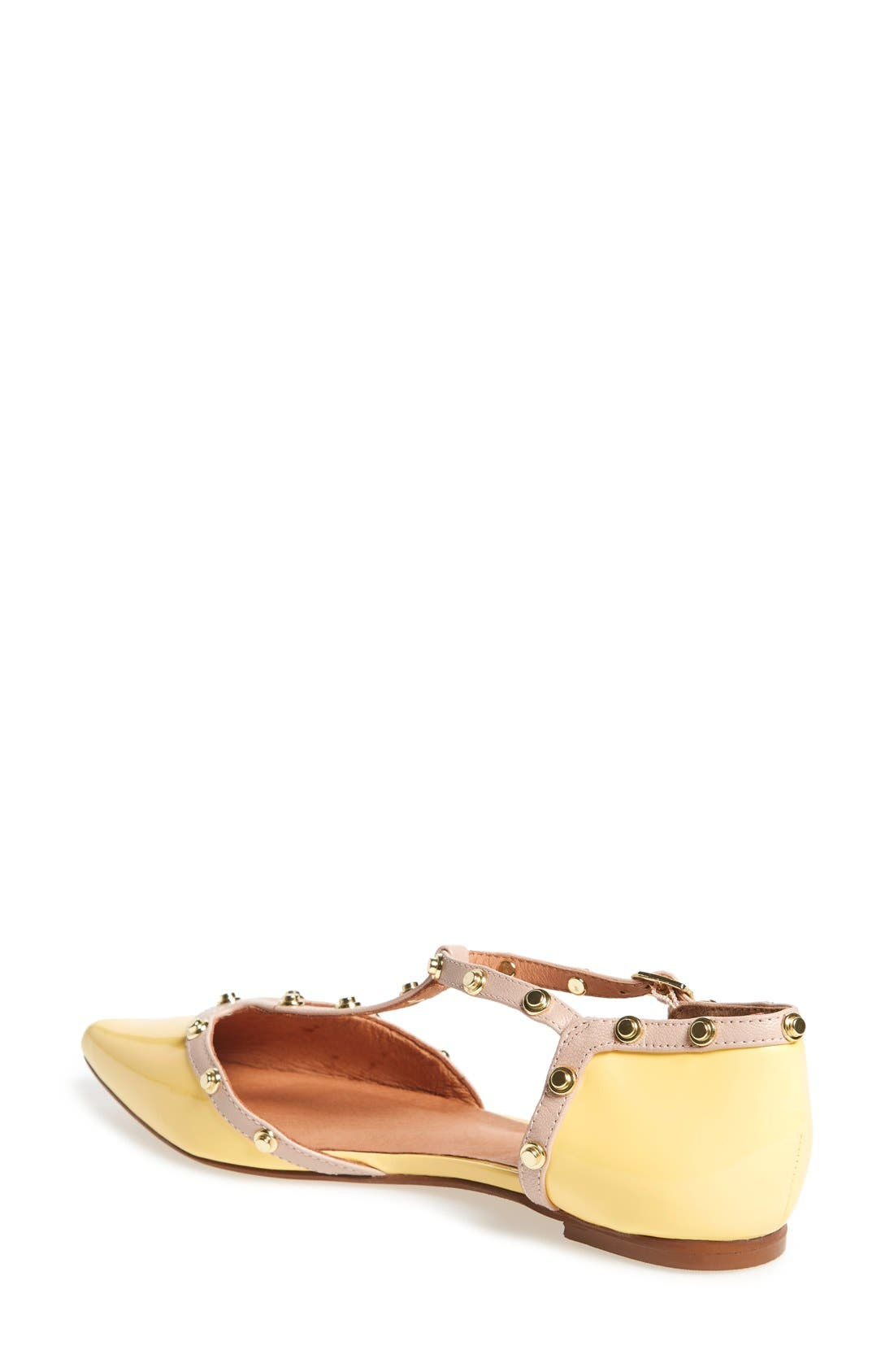 'Olson' Pointy Toe Studded T-Strap Flat,                             Alternate thumbnail 34, color,